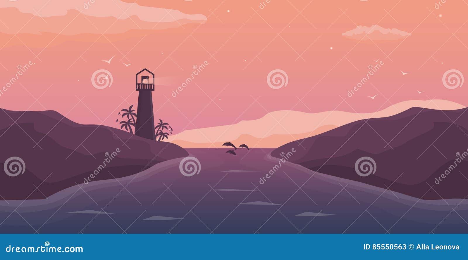 Nahaufnahme des roten Seils Junge Erwachsene Seehintergrund mit Wellen, Leuchtturm und Delphinen Flache Illustration des Vektors