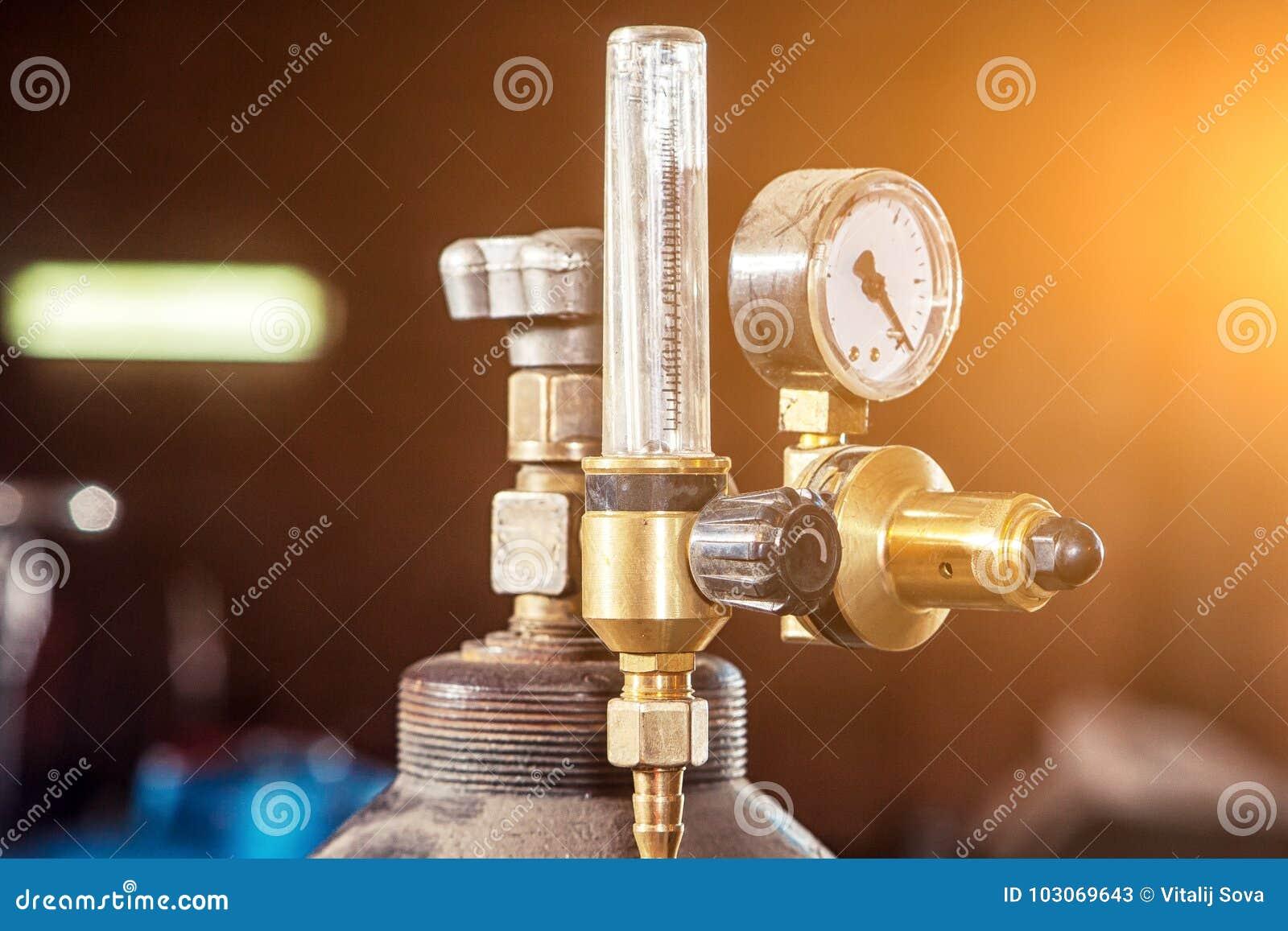 Nahaufnahme eines Metall-Gaszylinders