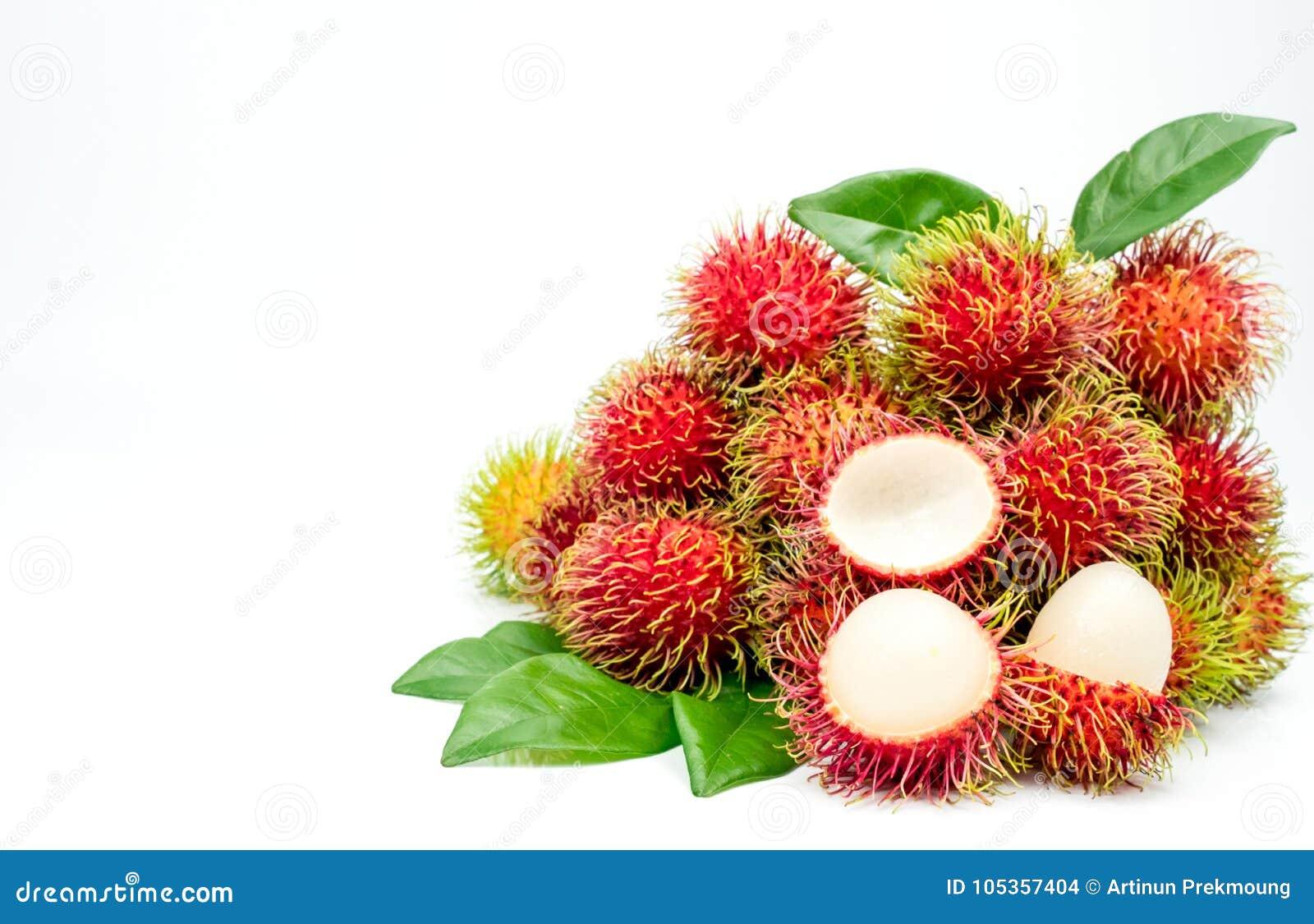 Nahaufnahme frischen roten reifen Rambutan Nephelium lappaceum