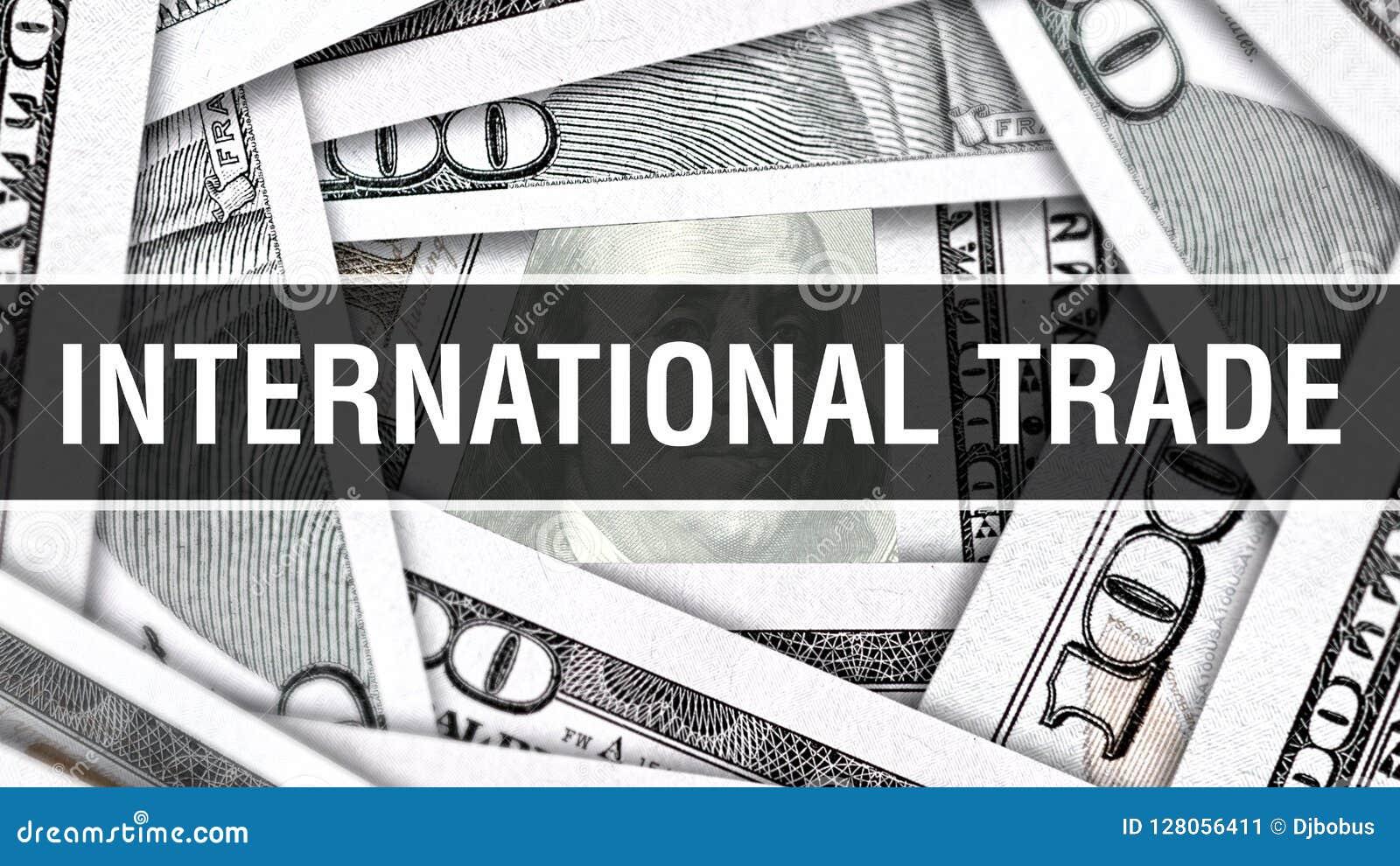 Nahaufnahme-Konzept des internationalen Handels Amerikanische Dollar des Bargeld-, Wiedergabe 3D Internationaler Handel an der Do