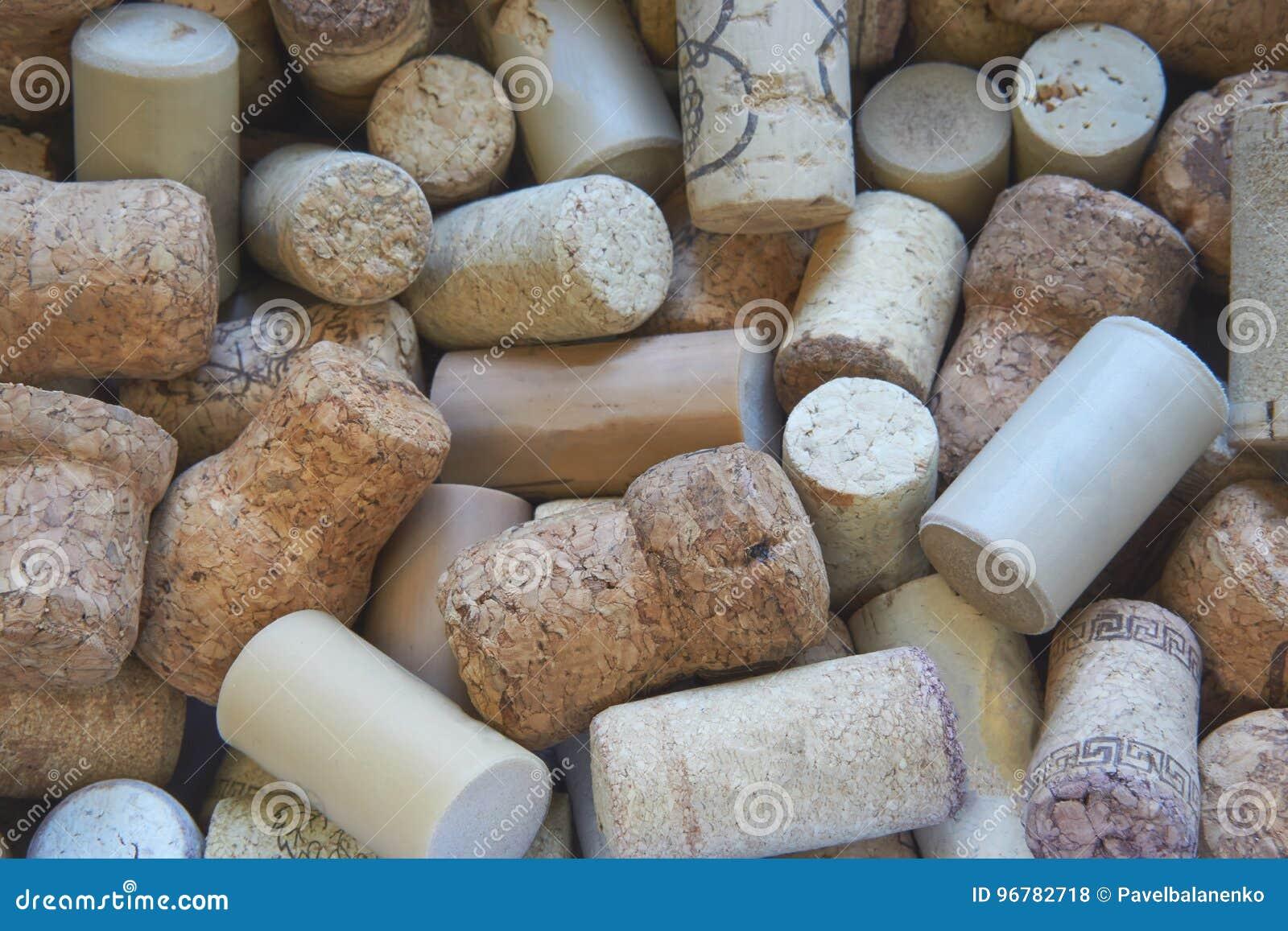 Nahaufnahme schoss viele Weinkorken