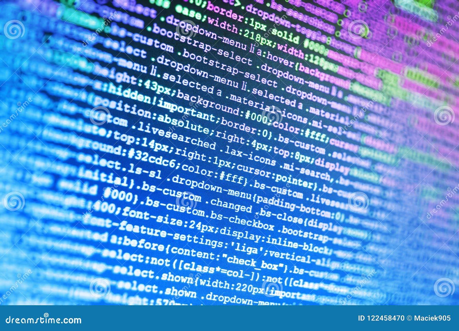 Nahaufnahme von Java Script, von CSS und von HTML