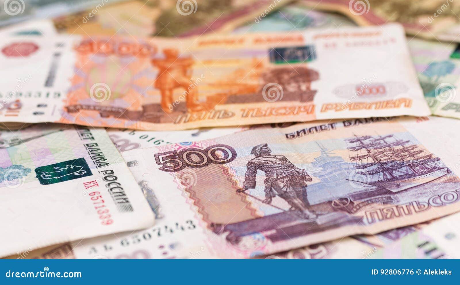 Nahaufnahme von russischen Rubeln, Geldhintergrund