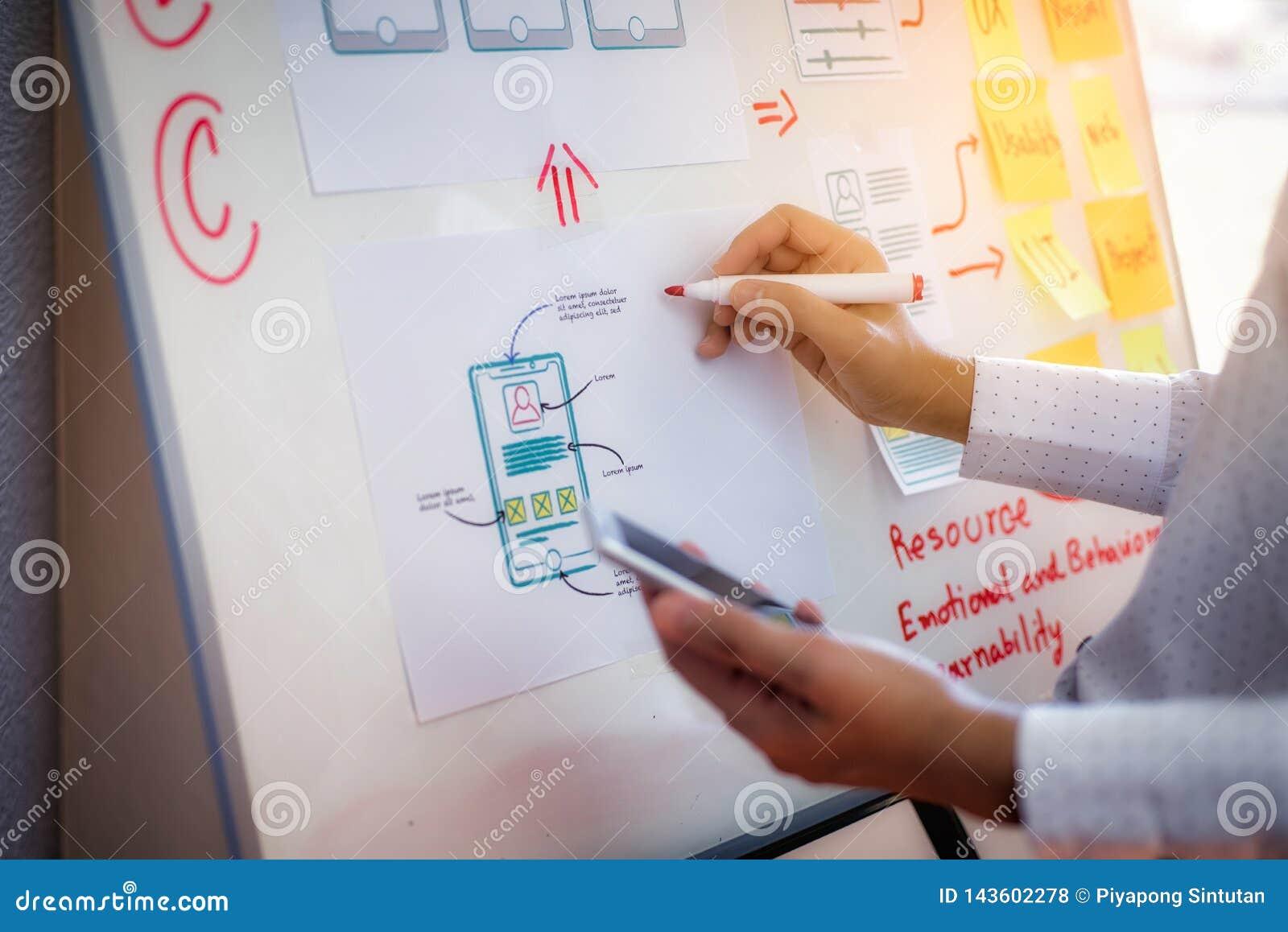 Nahaufnahmehand des Designerfrauen-Artplans der zeichnenden Anwendung für sich Entwickeln für bewegliche Anwendungen Benutzererfa