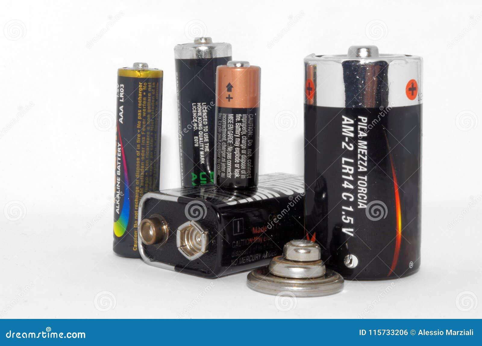Nahe Ansicht der Batteriesammlung