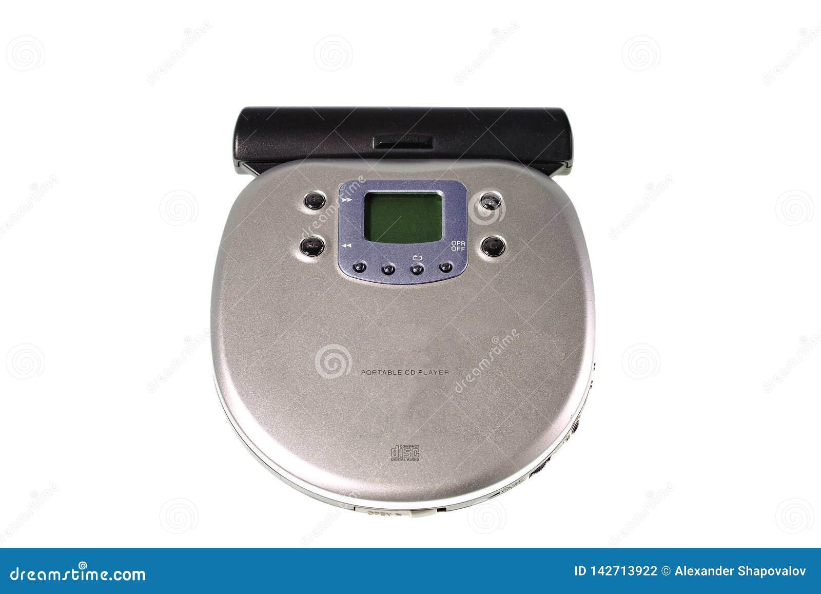 Nahe hohe Ansicht des CD-Players lokalisiert Alter Technologiehintergrund