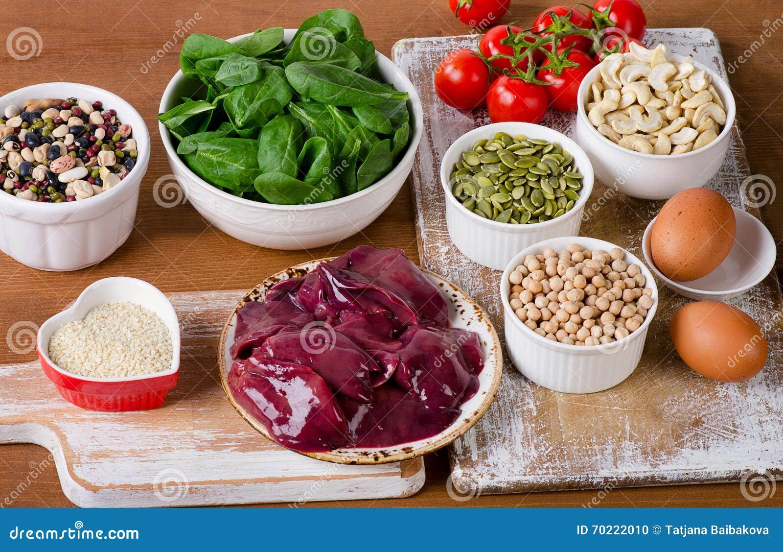 Nahrungsmittel hoch im Eisen, einschließlich Eier, Nüsse, Spinat, Bohnen, seafoo