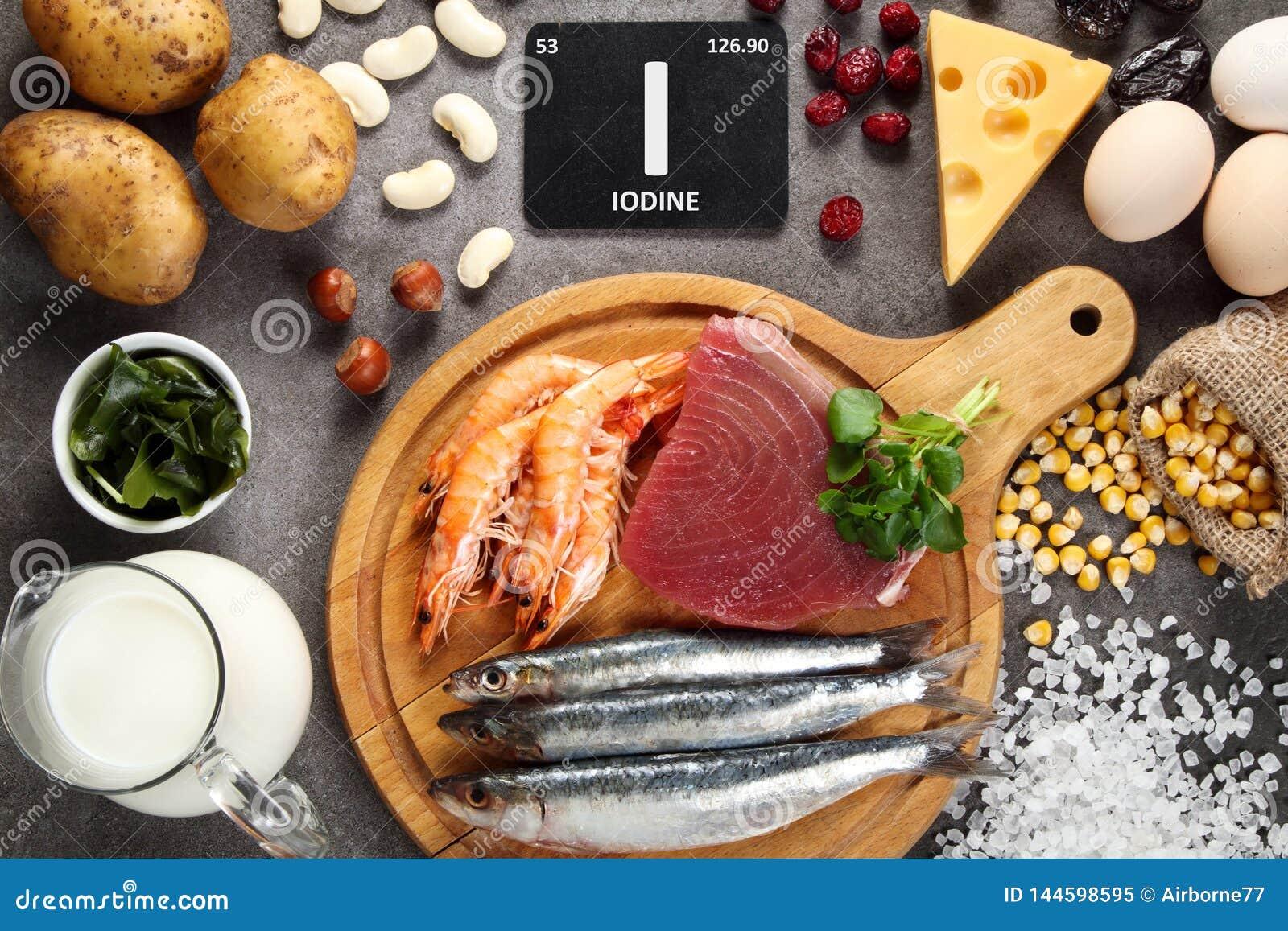 Nahrungsmittel reich im Jod