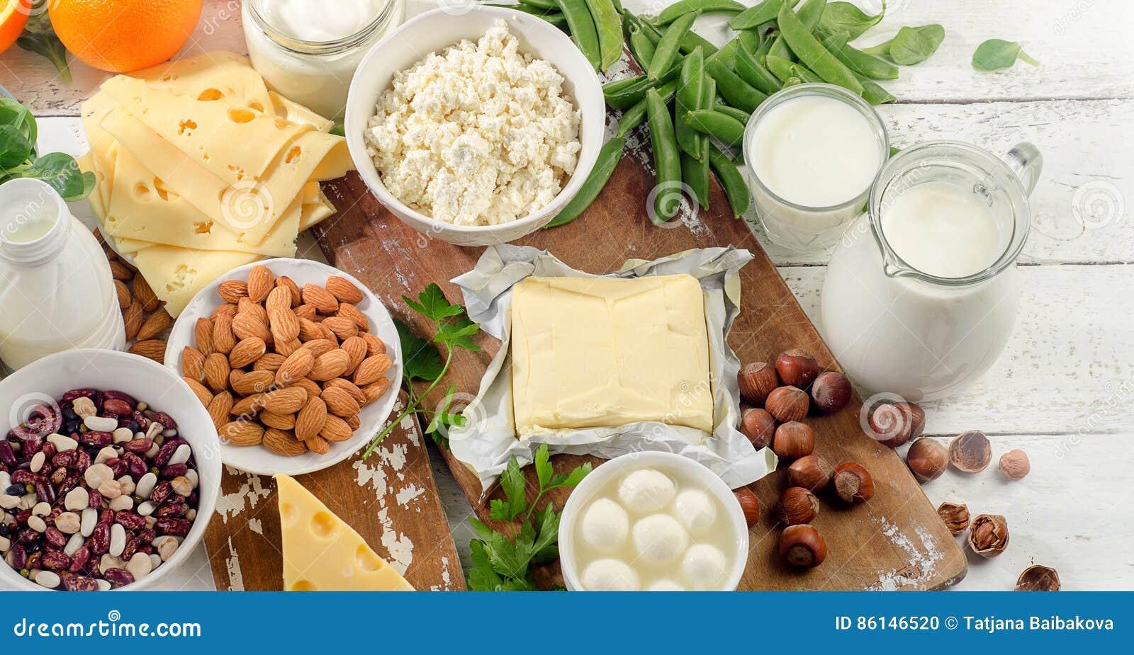 Nahrungsmittel reich im Kalzium Nahrung der gesunden Diät