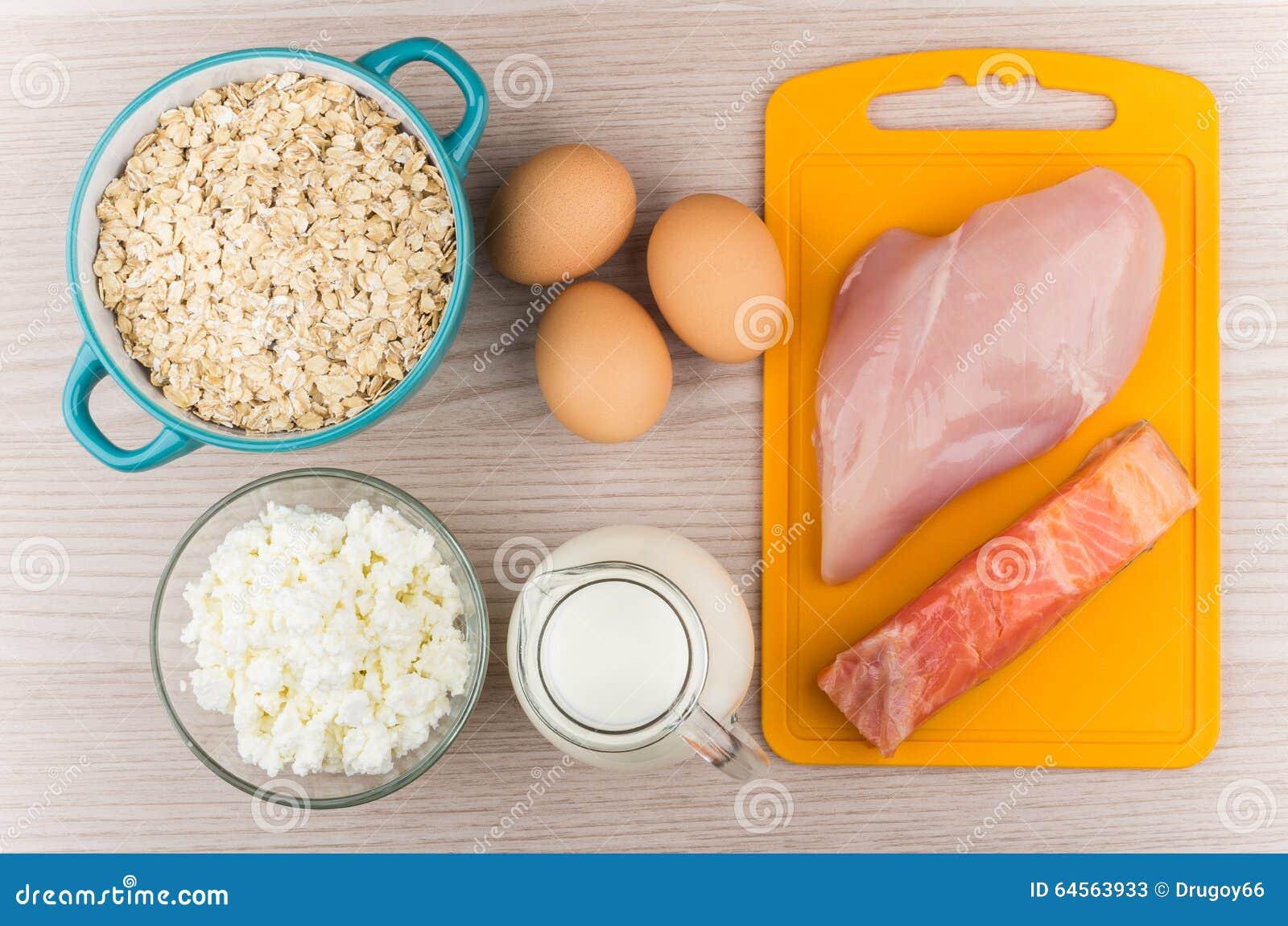 Nahrungsmittel reich im Protein und in den Kohlenhydraten auf Tabelle