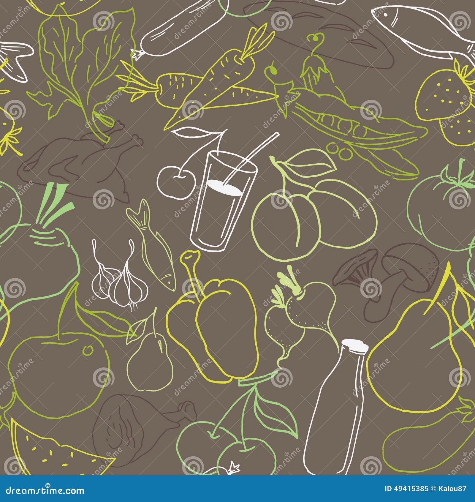 Download Nahrungsmittelnahtloses Muster Hand Gezeichneter Vektor Vektor Abbildung - Illustration von gewebe, frühstück: 49415385