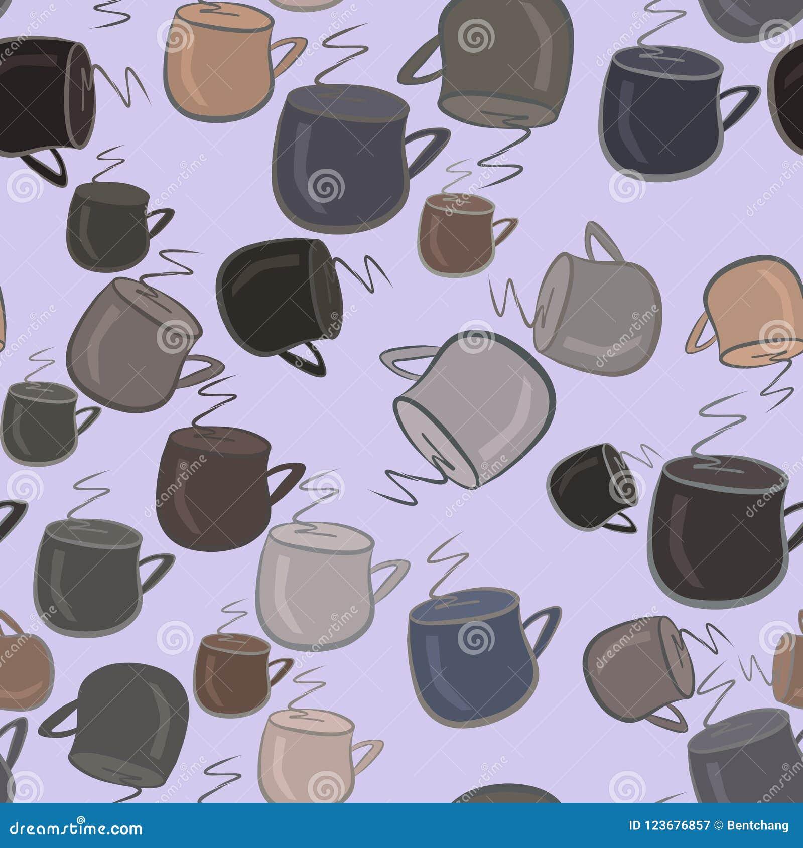 Nahtlose abstrakte Illustrationen der Kaffeetasse, begrifflich Segeltuch, Dekoration, Koffein u. Effekt