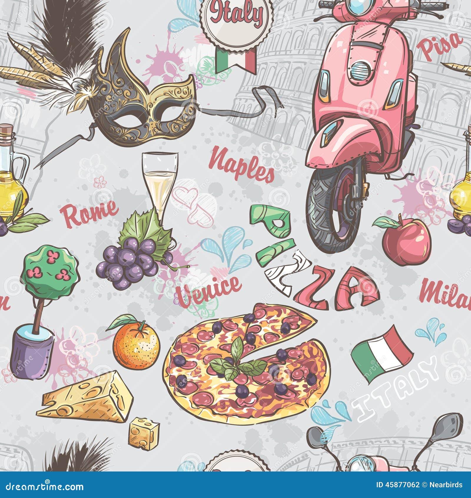 Nahtlose Beschaffenheit auf Italien Mit einem Bild des Lebensmittels, der Frucht, des Weins, der Karnevalsmasken und der anderer