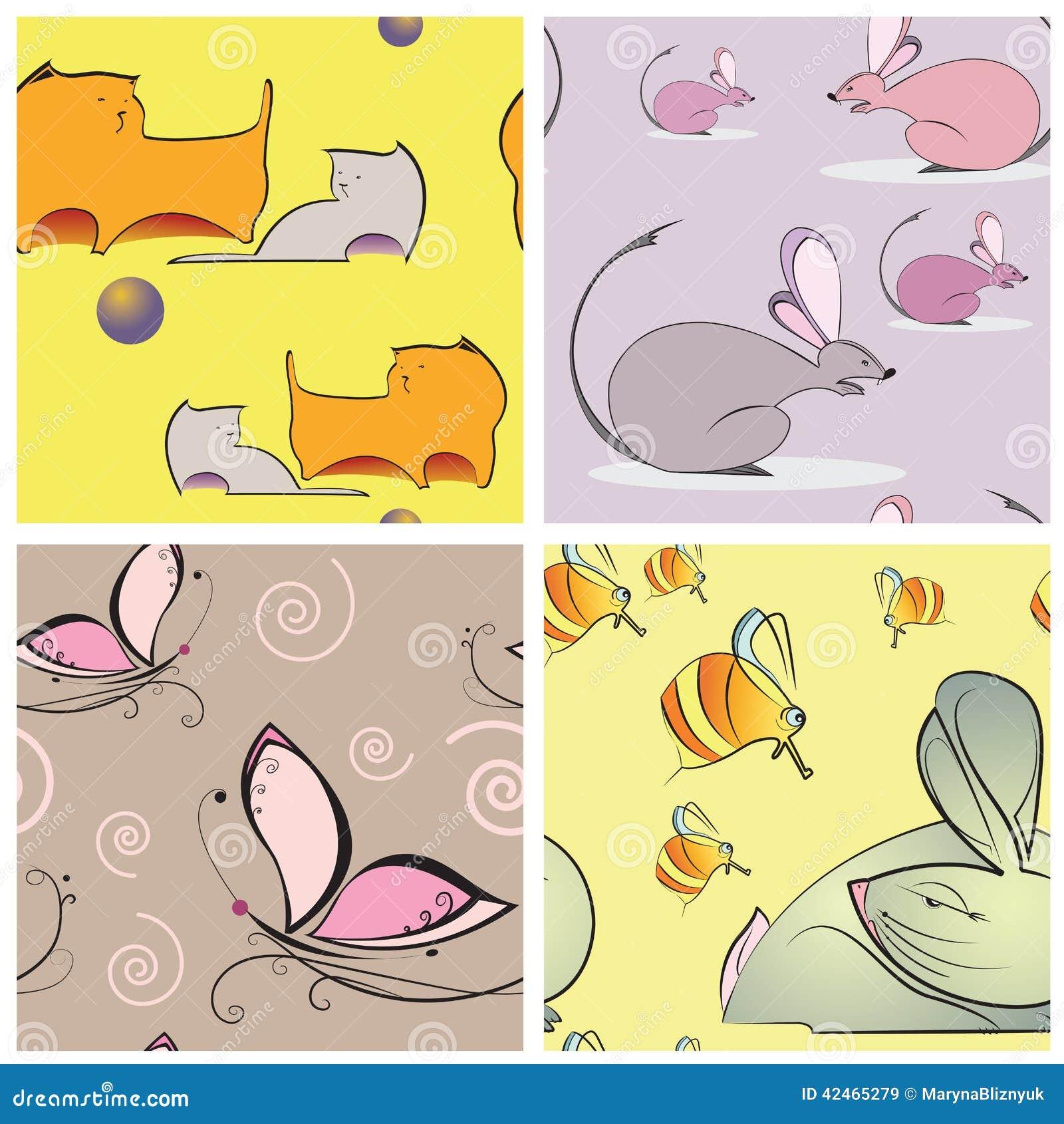 Nahtlose Beschaffenheit vier mit Katzen