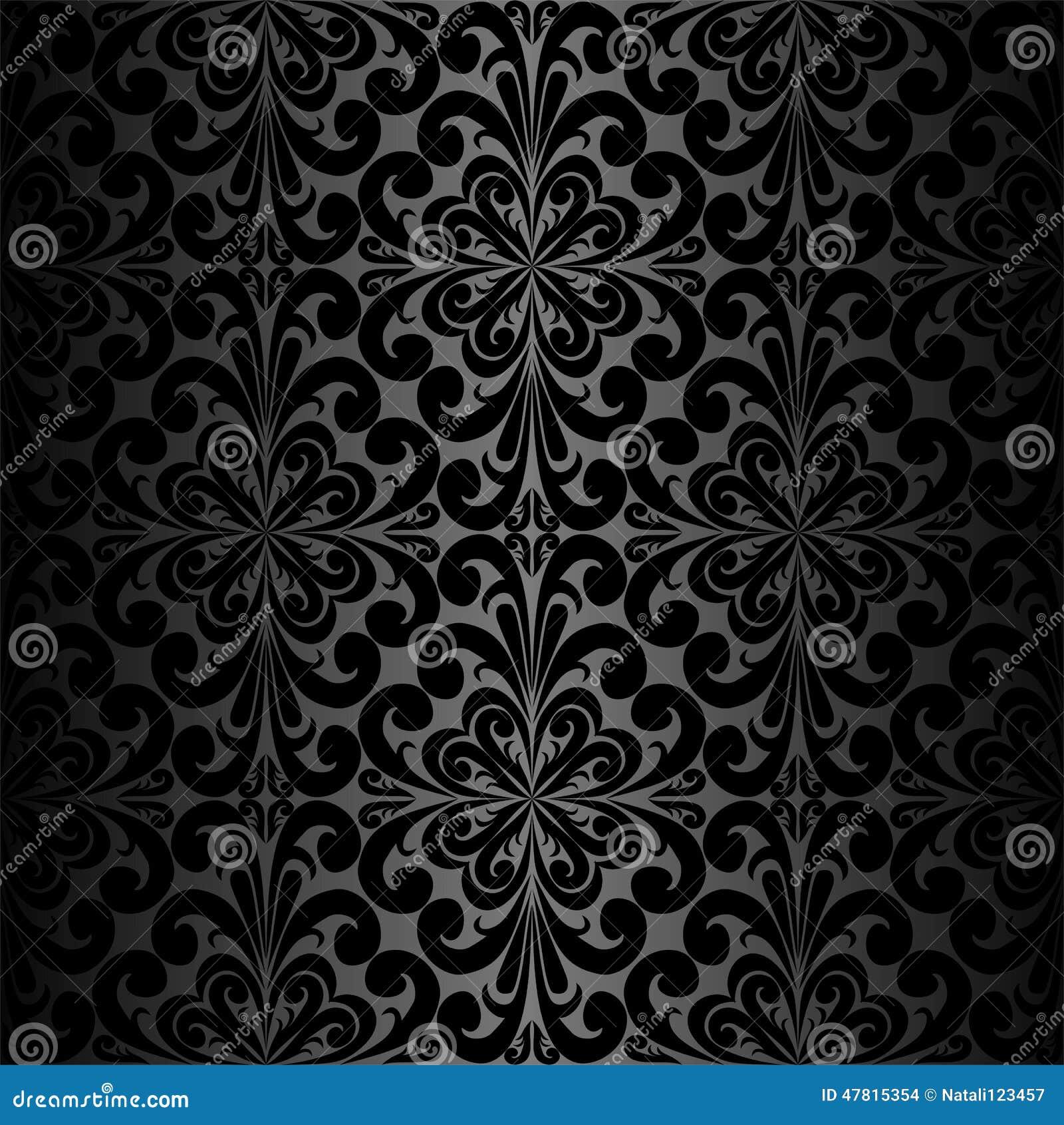 Schwarze Tapete Mit Wei?en Blumen : Seamless Black