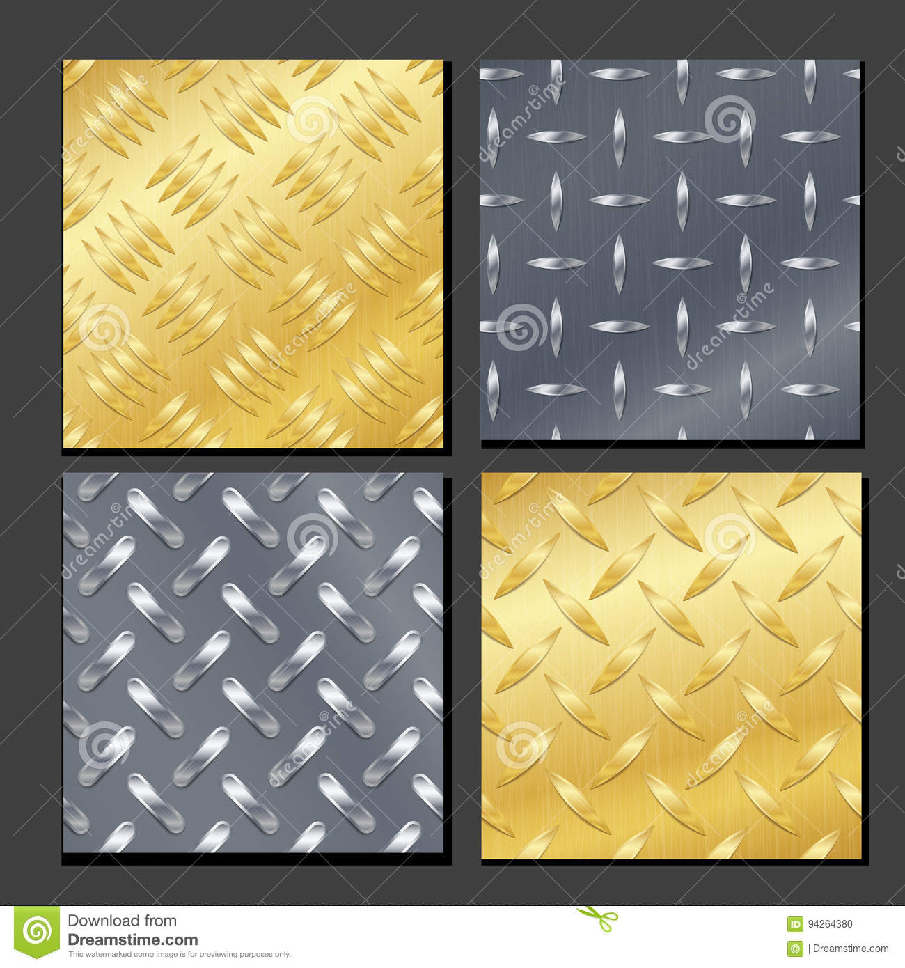 Nahtlose Diamond Metal Background Set With-Schritt-Platte Gold, Chrome, Silber, Stahl, Aluminium Vektor-realistisches Muster