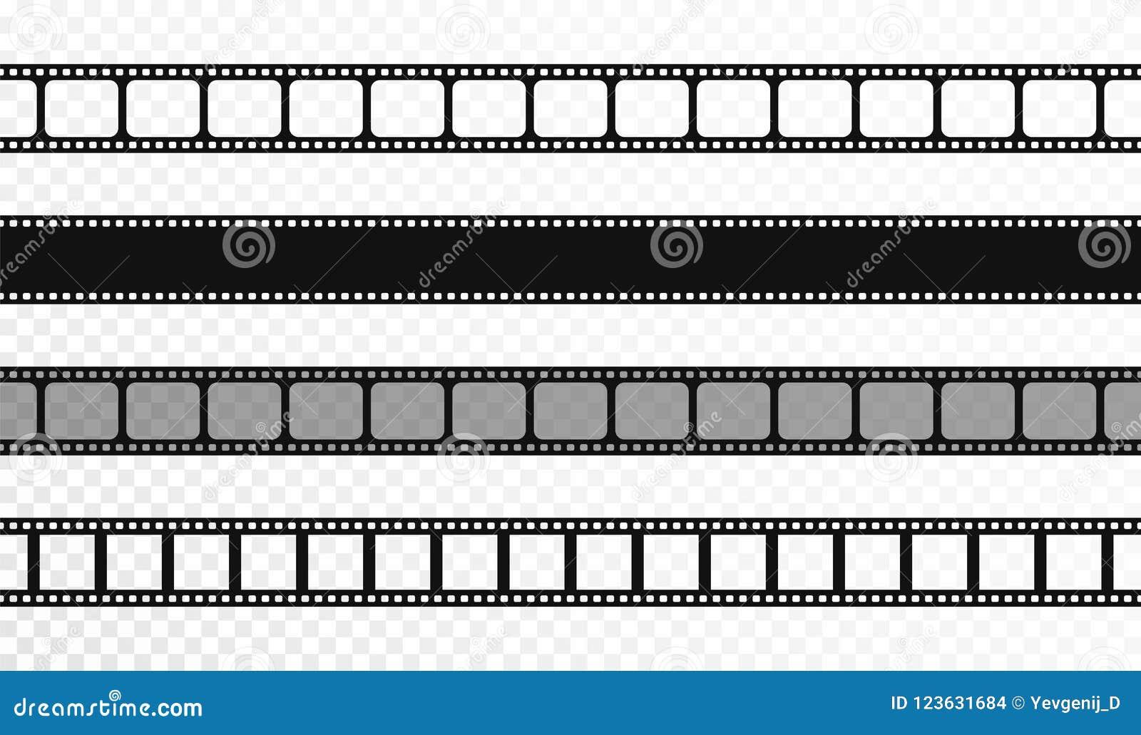 Nahtlose Filmstreifen auf transparentem Hintergrund Weinlesekino und Fotoband Retro- Filmstreifen