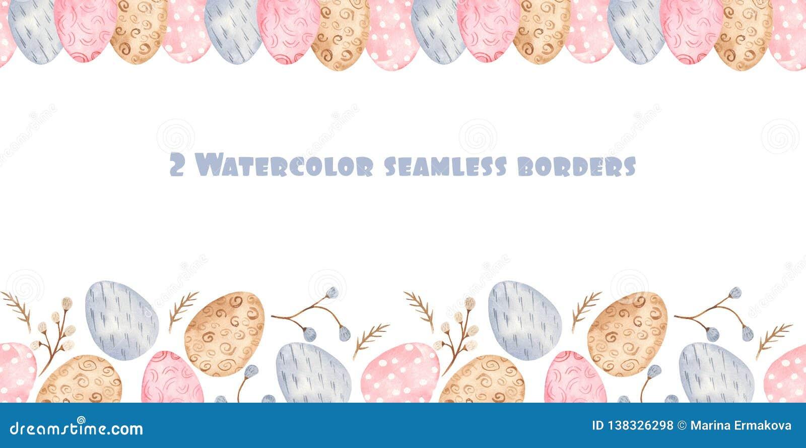 Nahtlose Grenze des Aquarells mit bunten Ostereiern und Weide