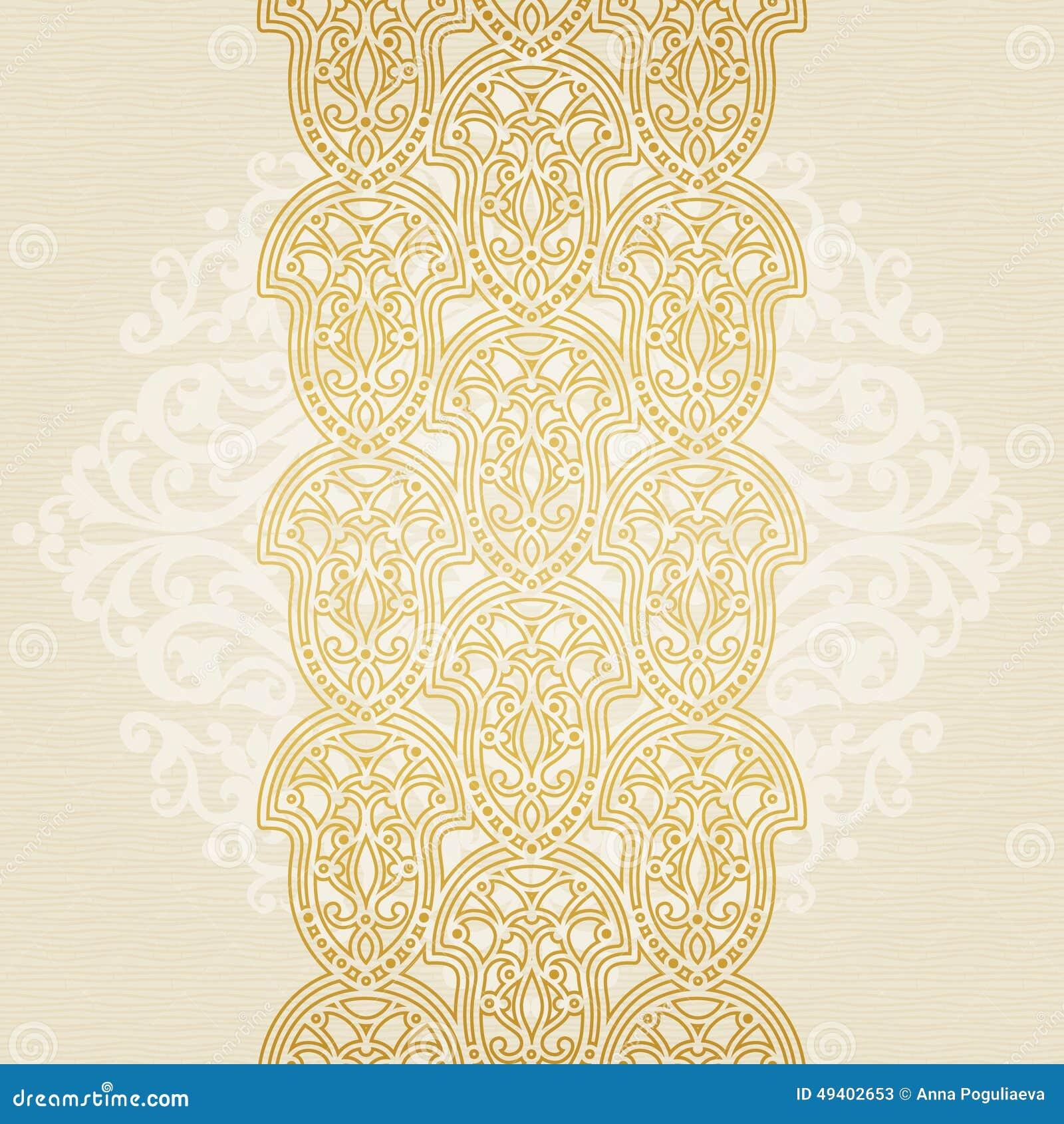 Download Nahtlose Grenze Des Vektors In Der Ostart Vektor Abbildung - Illustration von marokkanisch, floral: 49402653