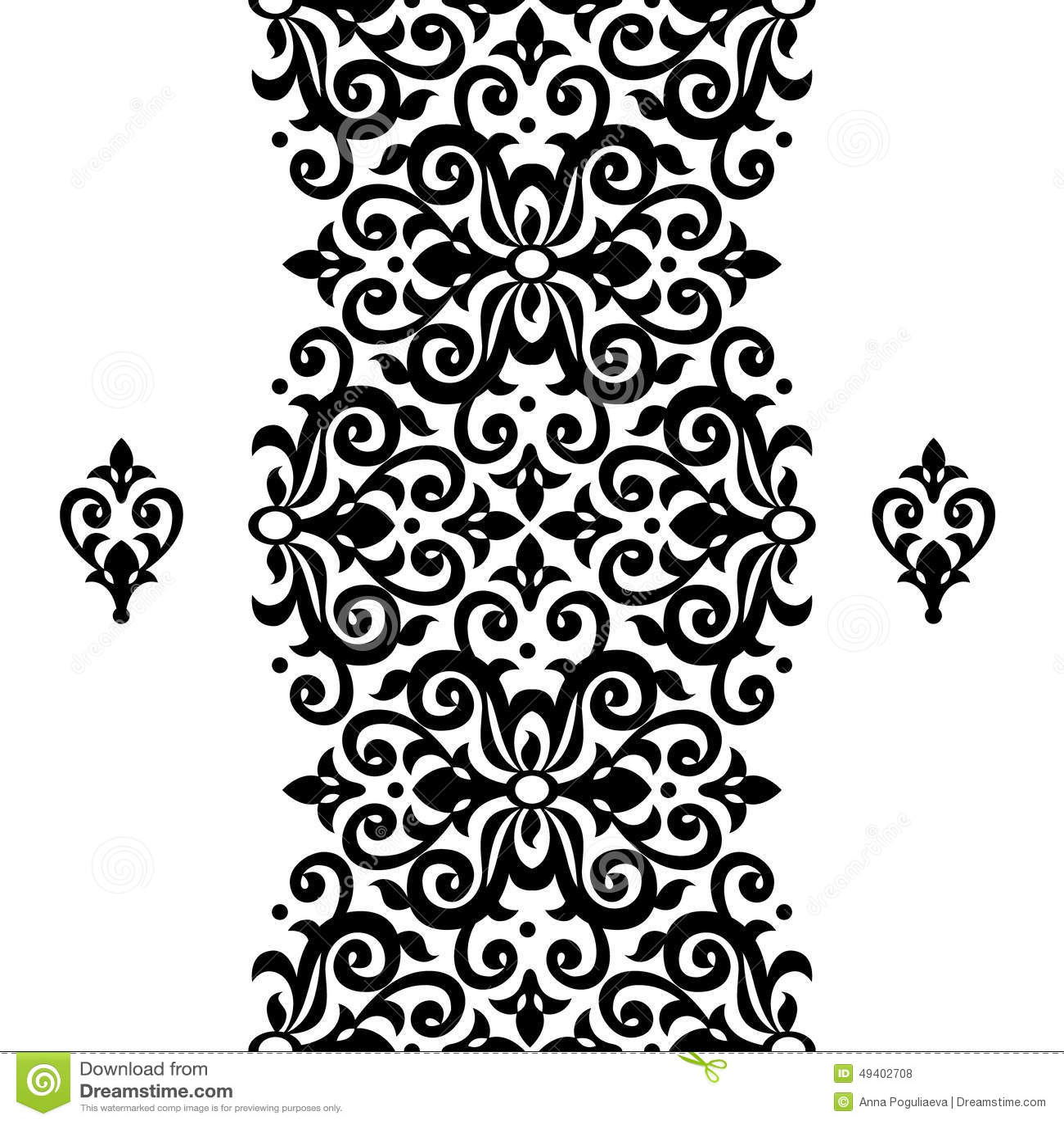 Download Nahtlose Grenze Des Vektors Im Viktorianischen Stil Vektor Abbildung - Illustration von marokkanisch, linear: 49402708