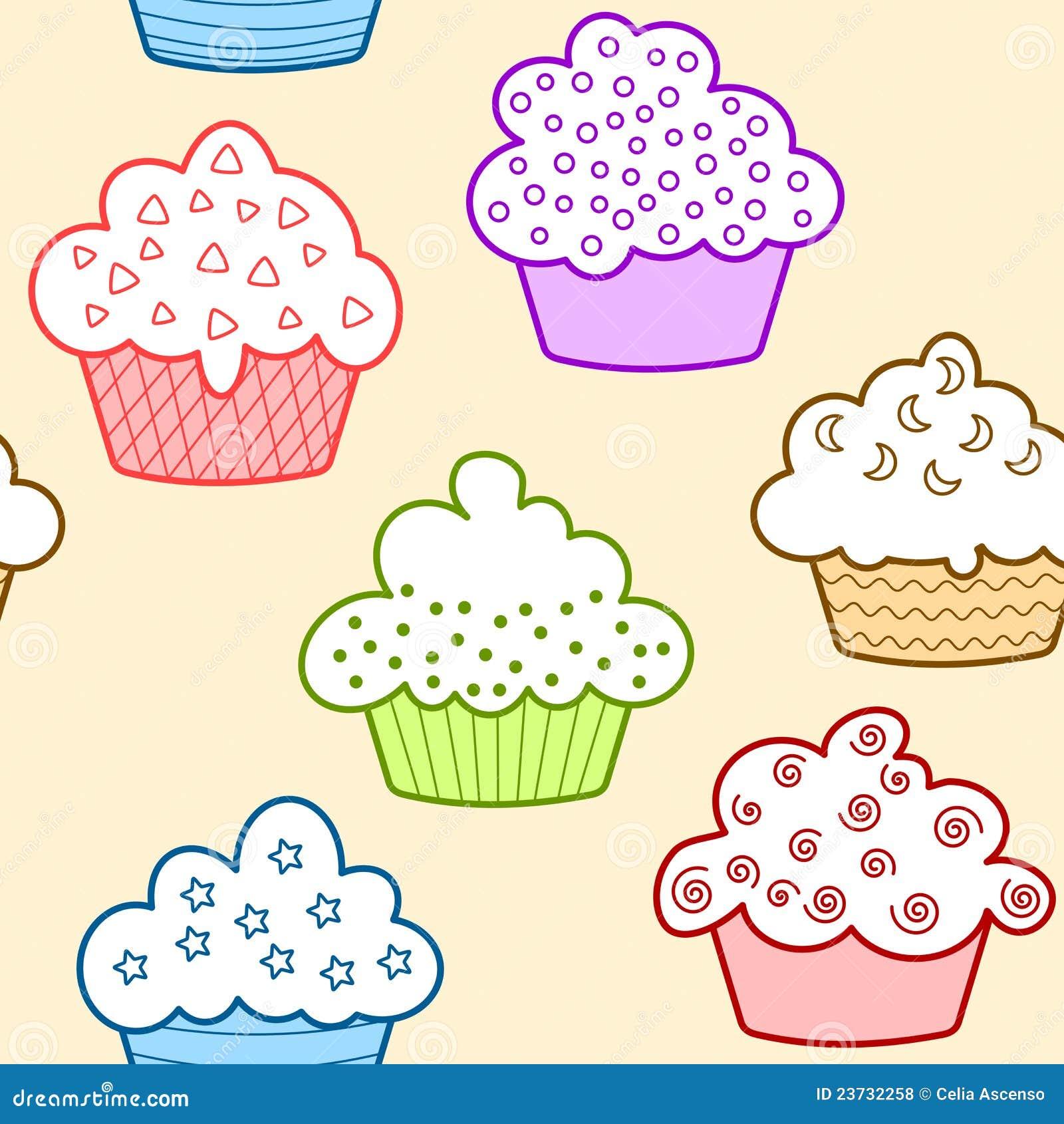 Nahtlose hellfarbige kleine Kuchen