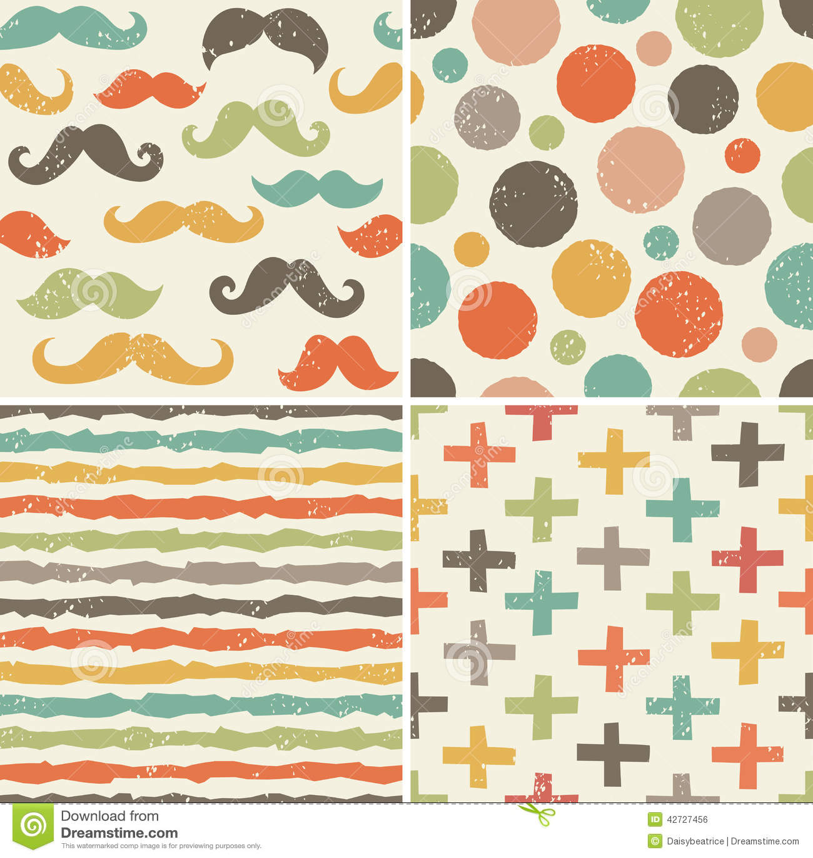 Nahtlose Hippie Muster In Den Retro Farben Vektor Abbildung