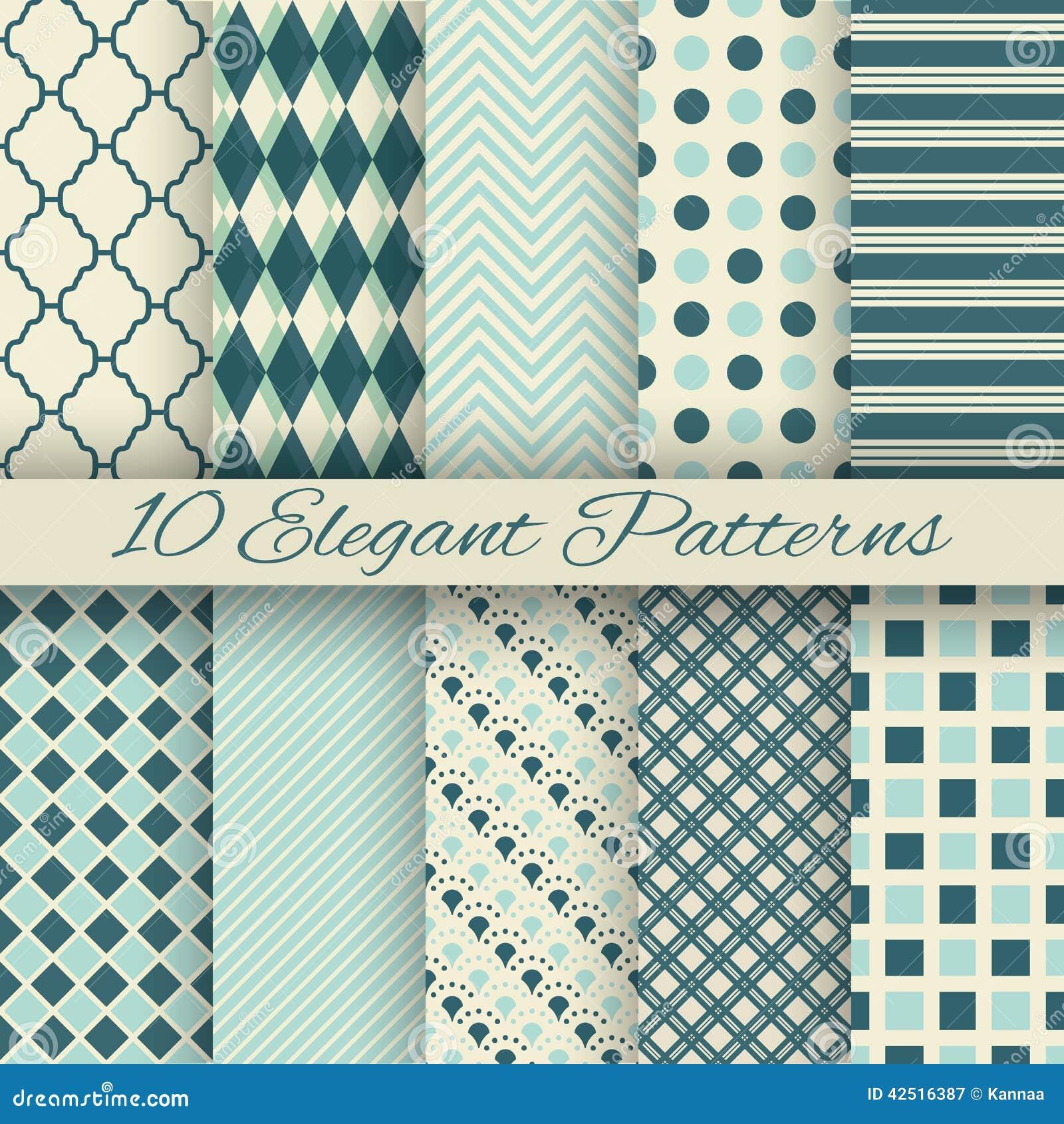 10 nahtlose Muster des eleganten Vektors (Tiling)