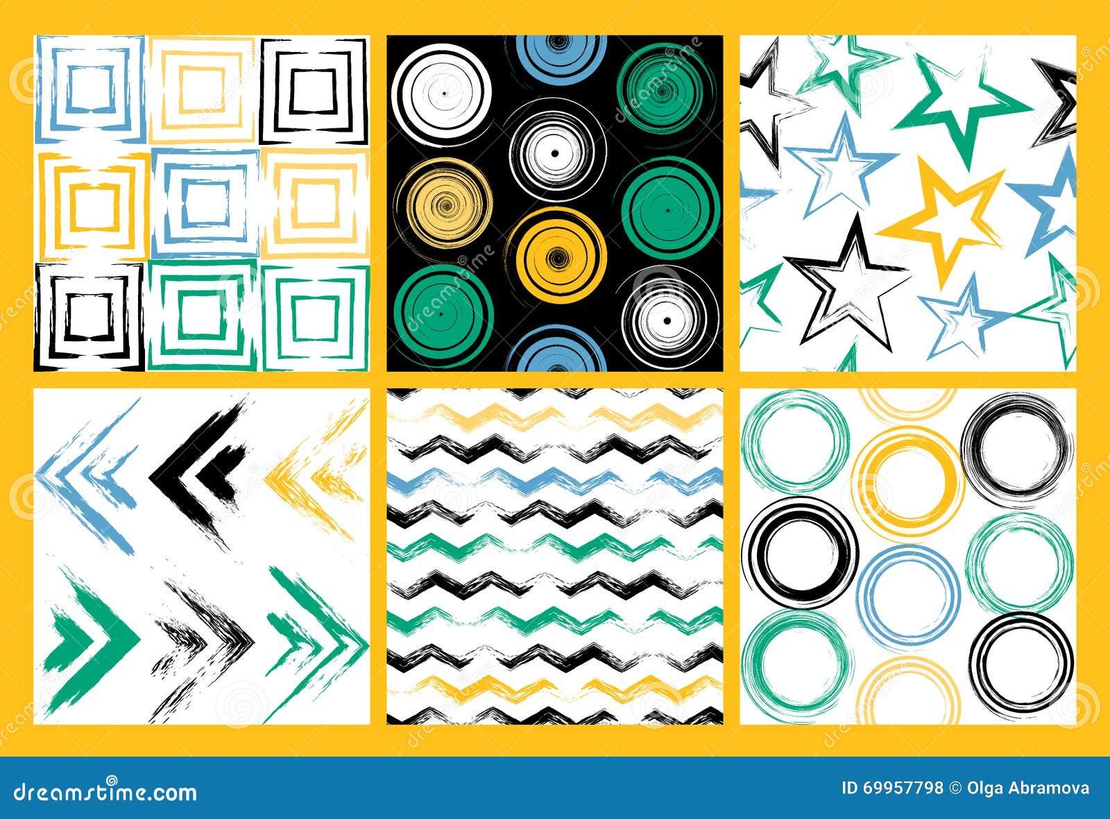 6 nahtlose Muster des netten unterschiedlichen Vektors Strudel, Kreise, Bürstenanschläge, Quadrate, abstrakte geometrische Formen