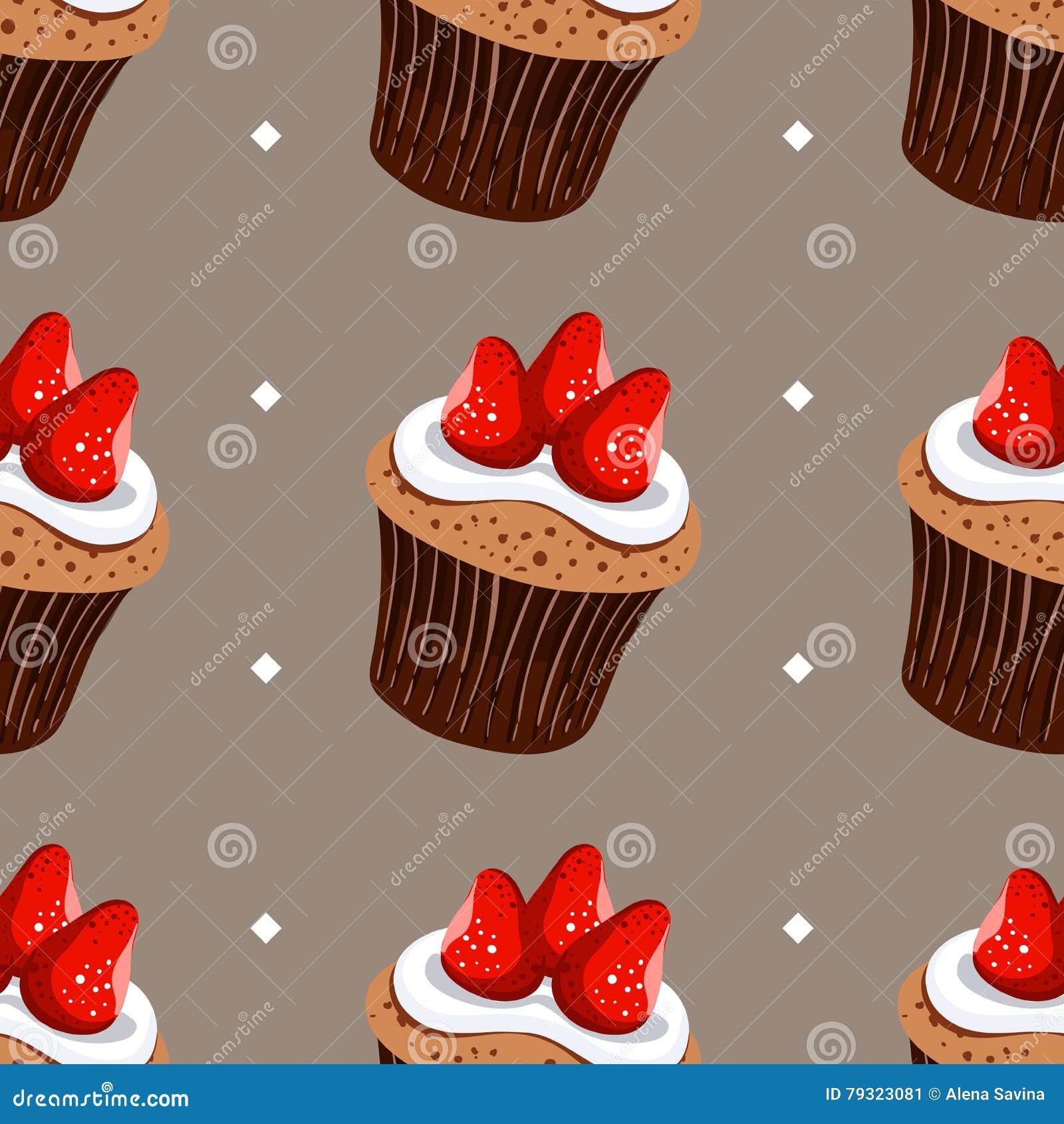 nahtlose muster erdbeerkleine kuchen - Kuchen Muster