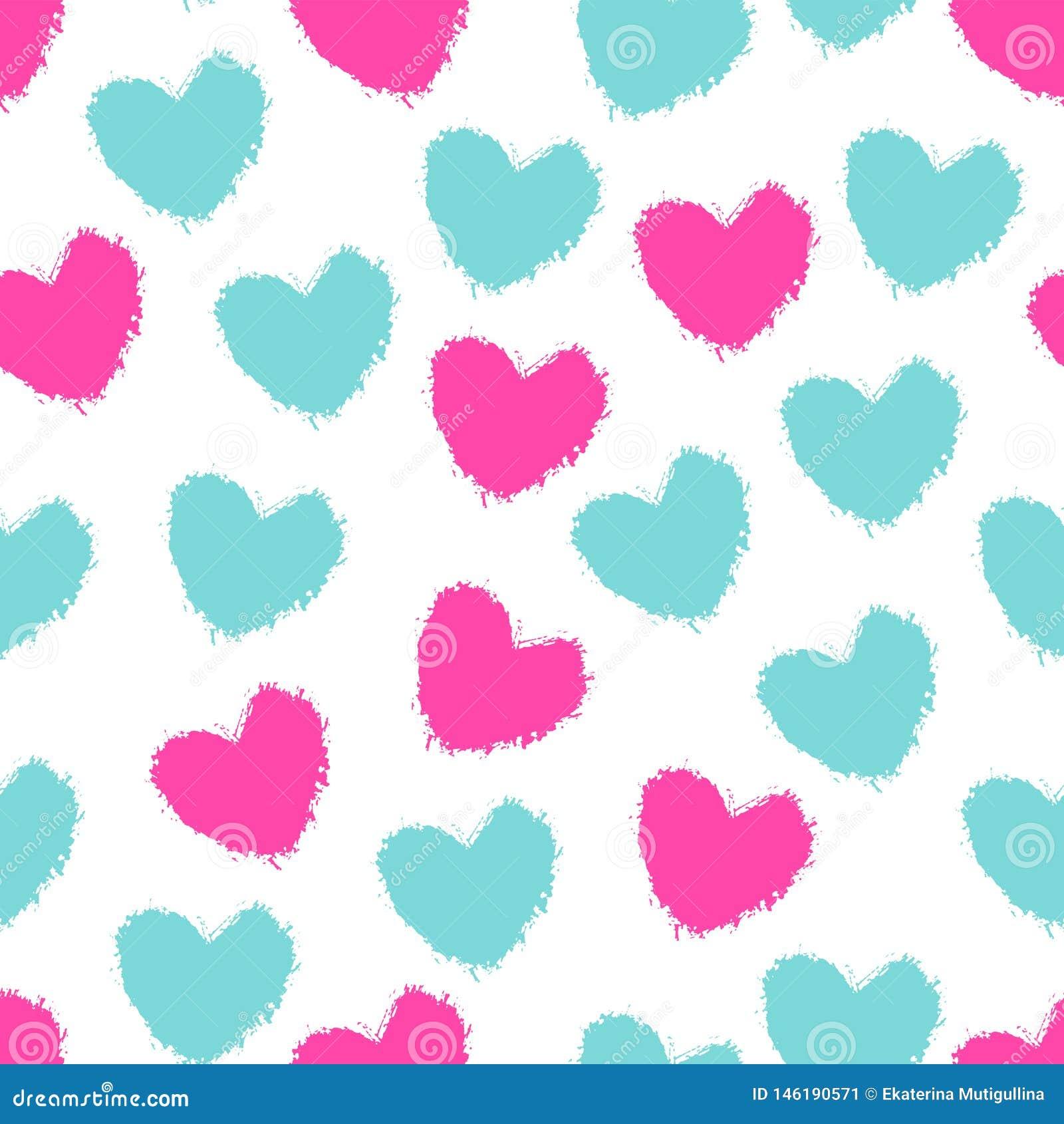 Nahtlose Musterfarbe malte Herzen