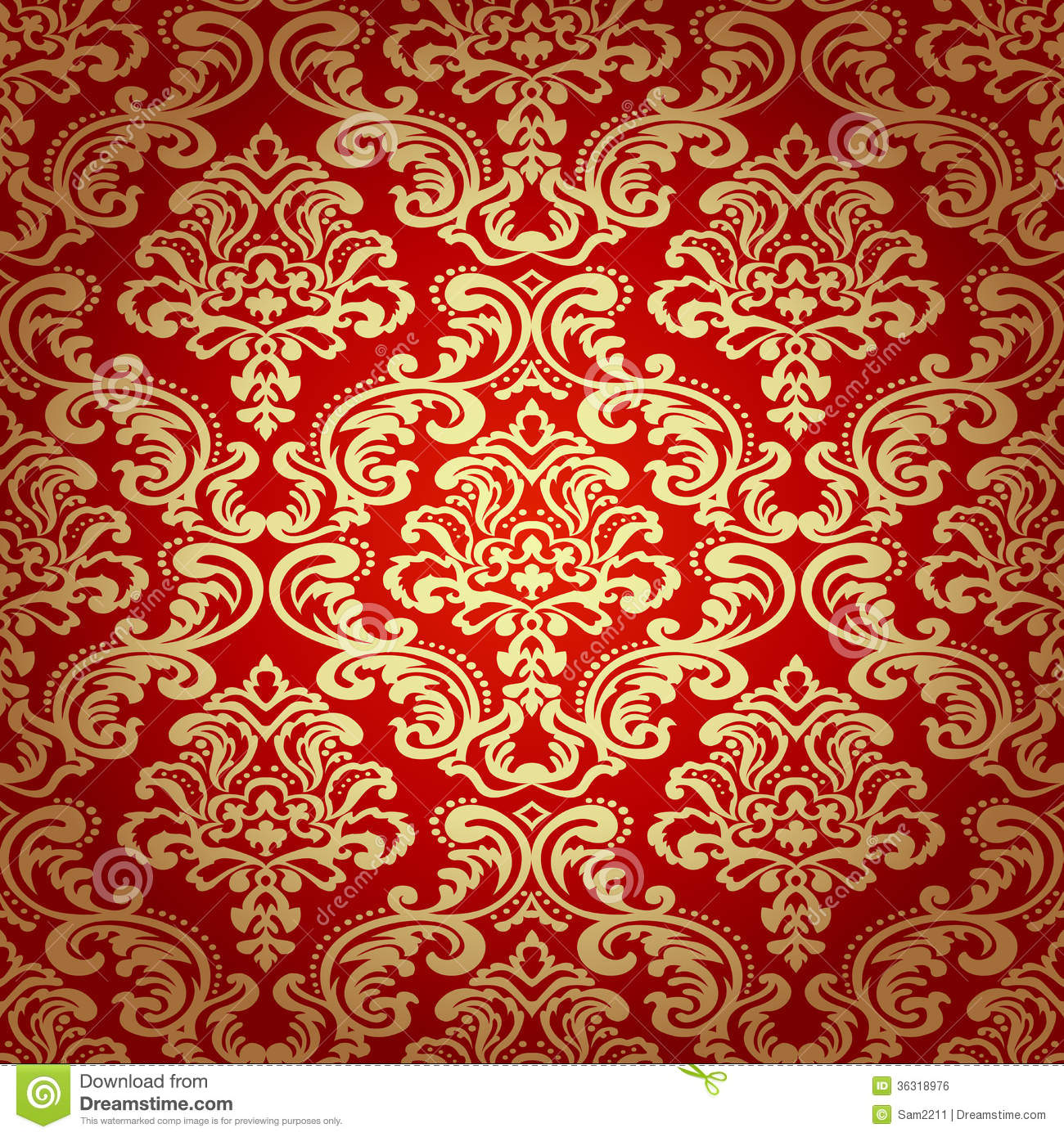 Nahtlose tapete des muster background damask lizenzfreies for Tapete gold muster