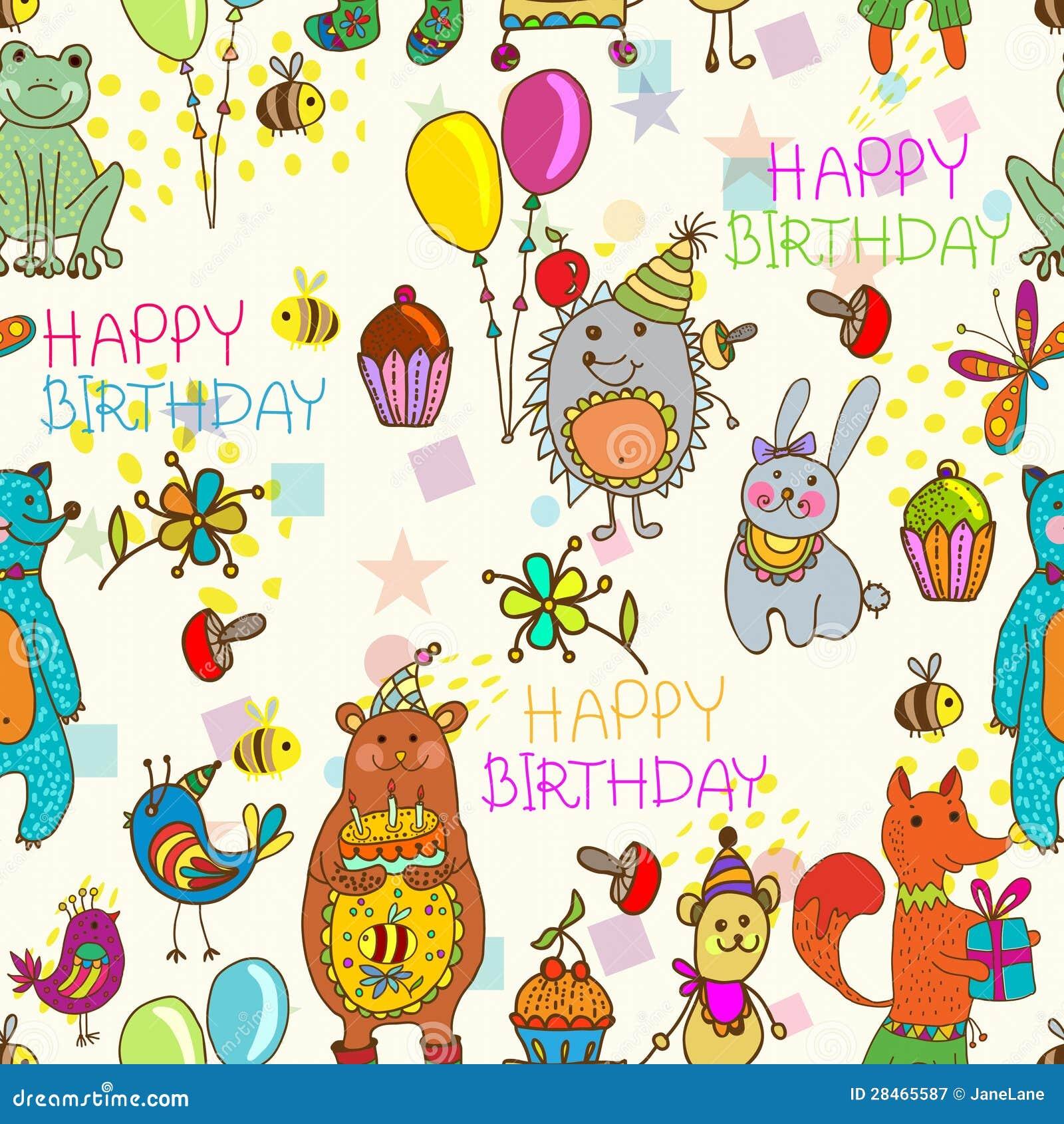 Nahtloser Alles Gute Zum Geburtstagkarikaturhintergrund Vektor