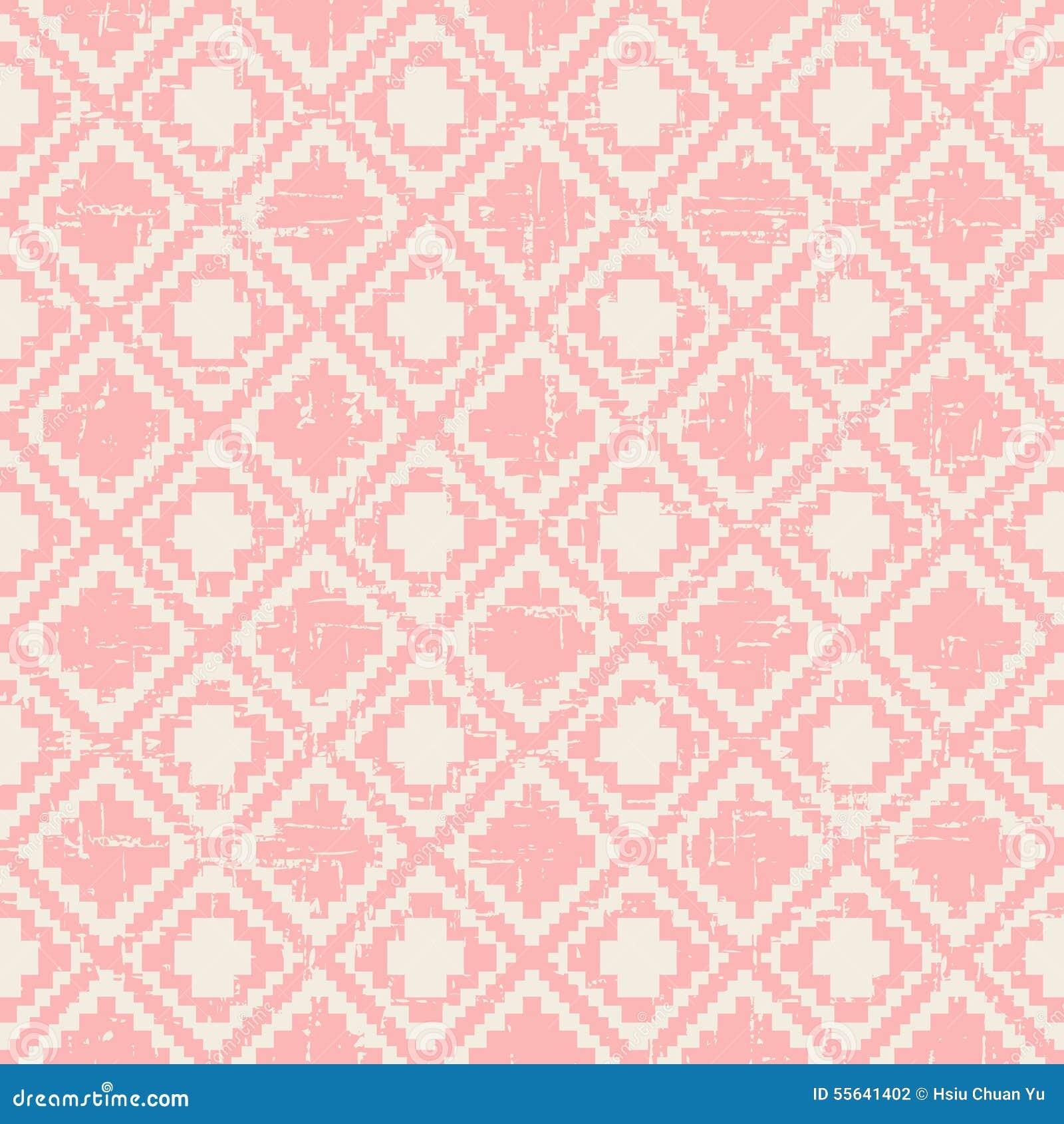 Nahtloser getragener heraus Pixeldiamantkontrollmusterhintergrund der Weinlese rosa