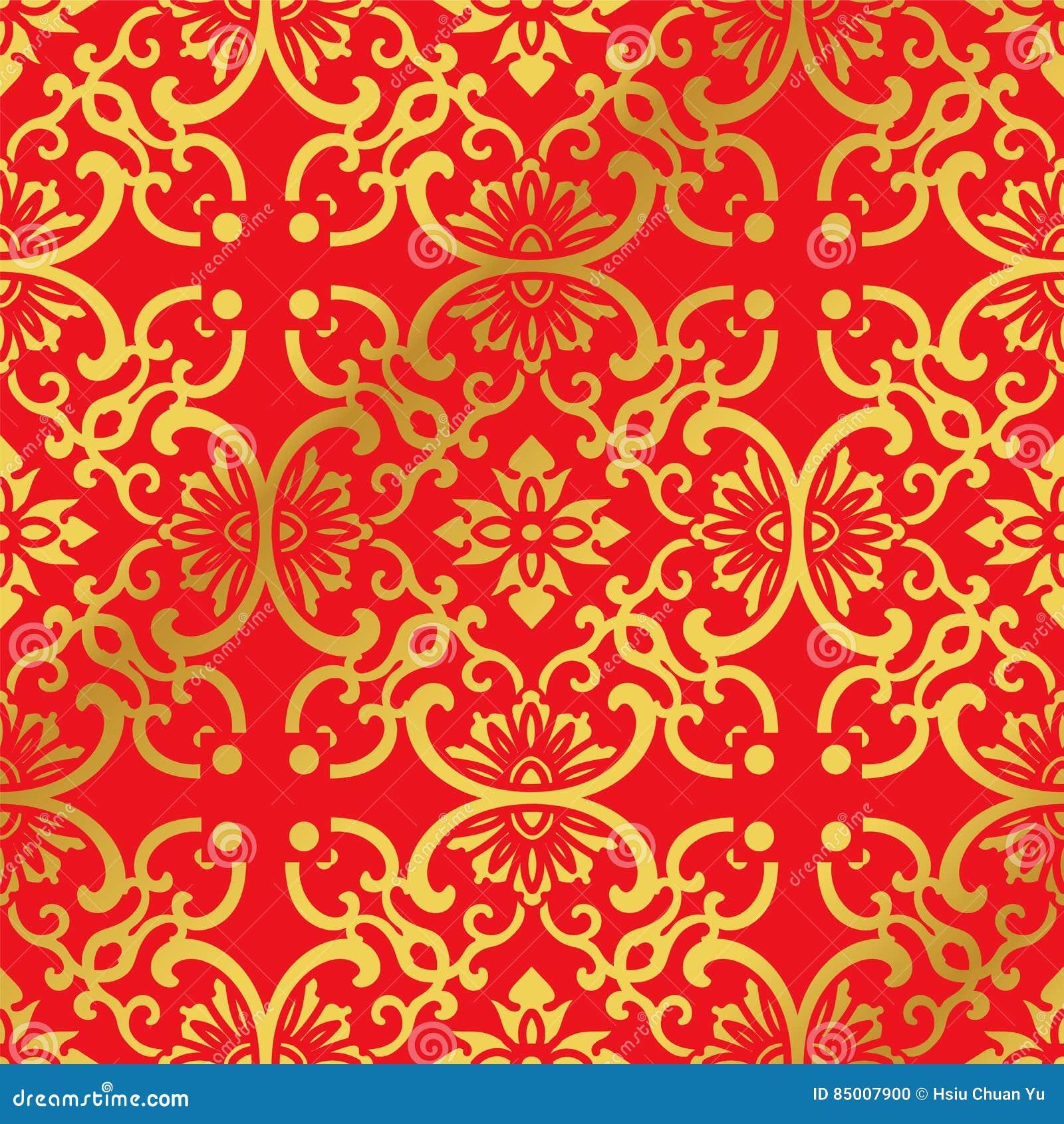 Nahtloser Goldener Chinesischer Hintergrund-runde Kurven-Kreuz ...