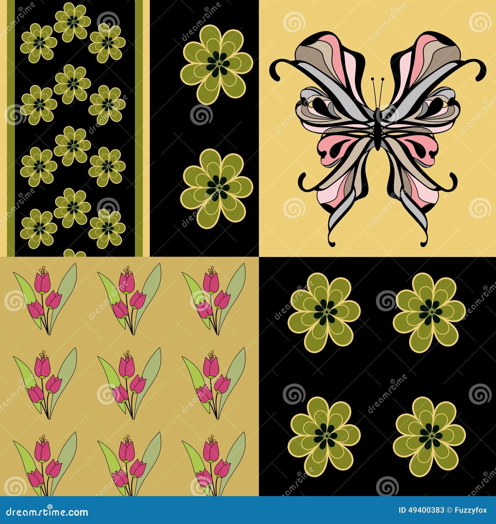 Download Nahtloser Grüner Retro- Farbschmetterlingsmusterhintergrund Stock Abbildung - Illustration von nave, grün: 49400383