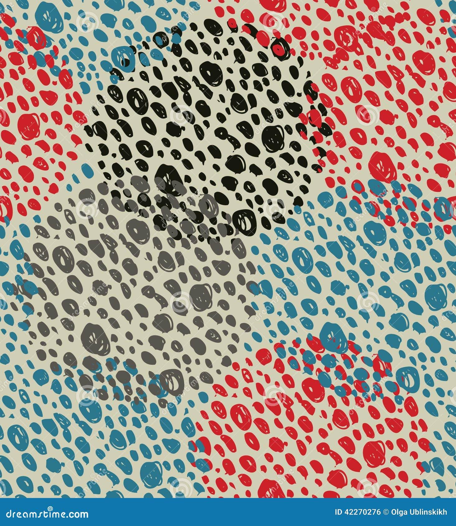 Nahtloser Hintergrund der abstrakten Weinlese mit Kreisen von Punkten Retro- Schmutzmuster