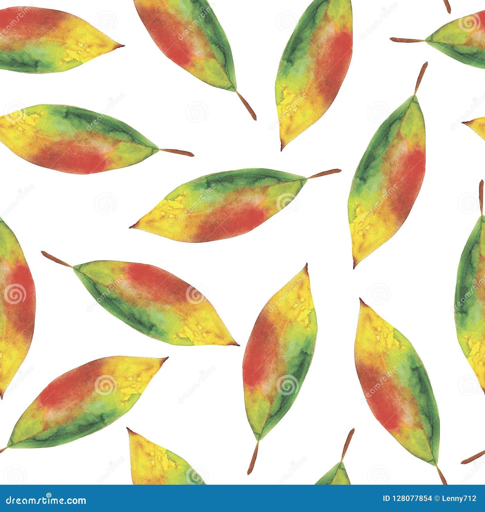 Nahtloser Hintergrund des Aquarells von den Herbstblättern
