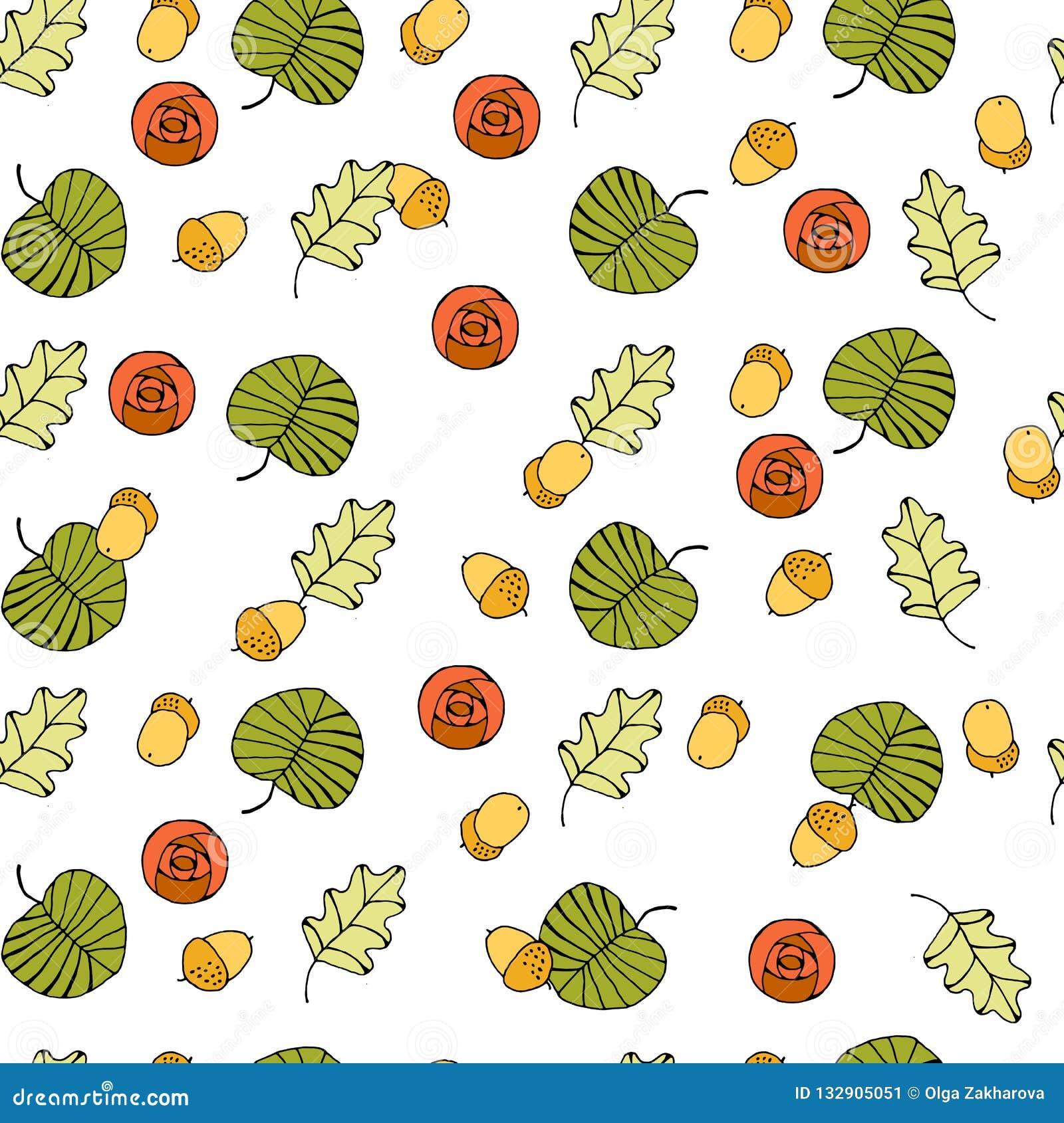 Nahtloser Hintergrund des Vektors mit farbigen Blättern