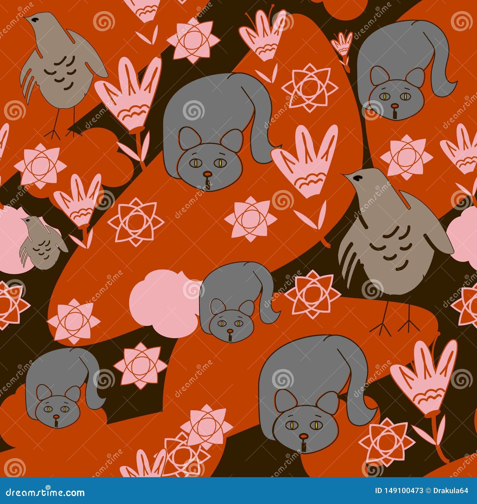 Nahtloser Hintergrund von Katzen, Huhn, Blumen, orange Wolken