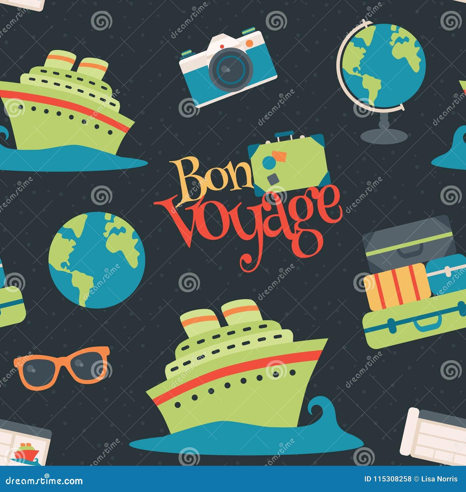 Nahtloser Muster-Hintergrund Vektor-Bon Voyage Cruise Travel Navys