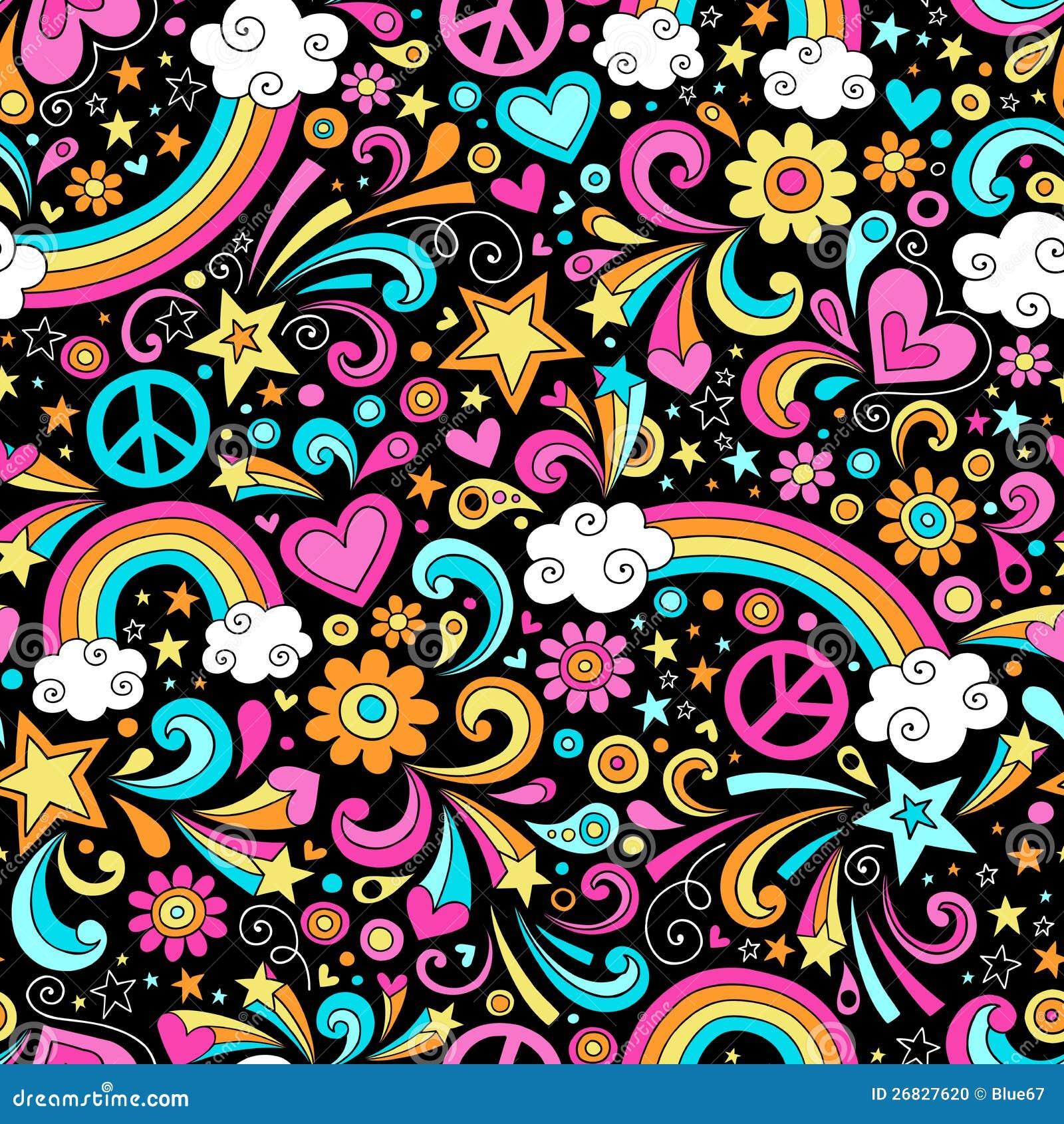 Nahtloser starker Regenbogen-Frieden und Liebes-Muster Vec