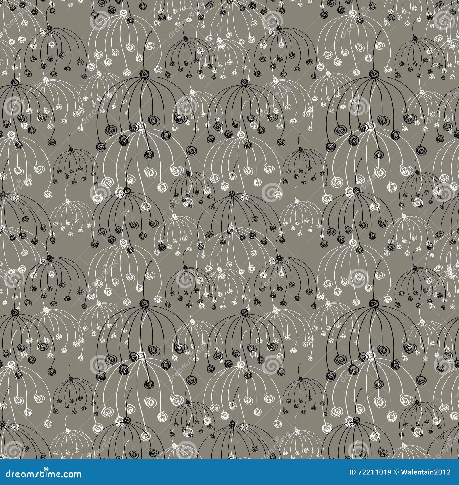nahtloser vektorblumenmuster graue hand gezeichneter abstrakter hintergrund mit blumen vektor. Black Bedroom Furniture Sets. Home Design Ideas