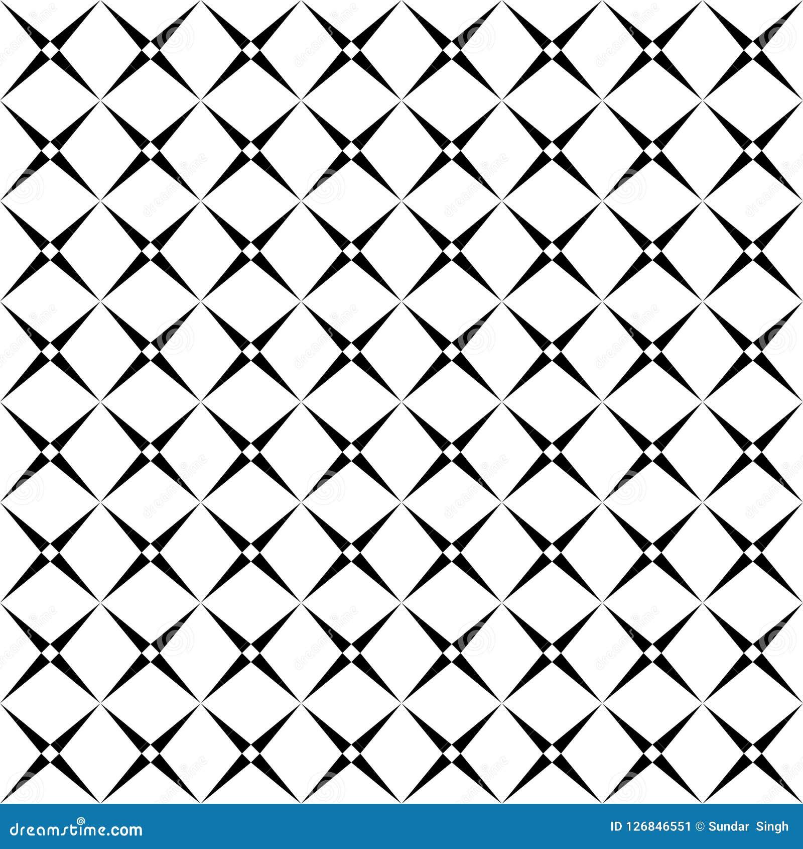 Nahtloses abstraktes quadratisches Schwarzweiss-Schachbrettmuster - Halbtonvektorhintergrunddesign von der Diagonale rundete Quad