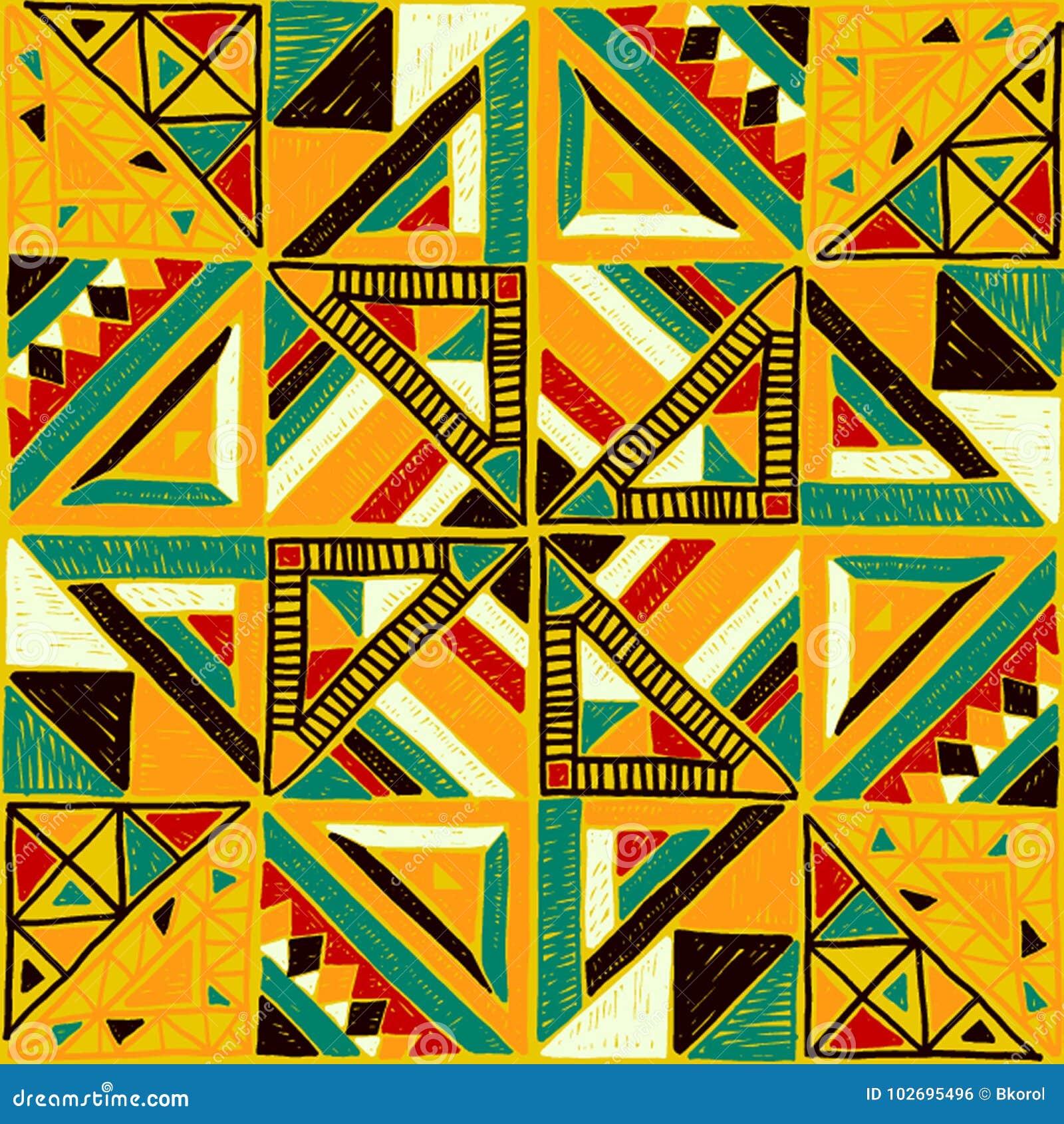 Nahtloses afrikanisches Muster Ethnische Verzierung auf dem Teppich Aztekische Art Zahl Stammes- Stickerei Indisches, mexikanisch