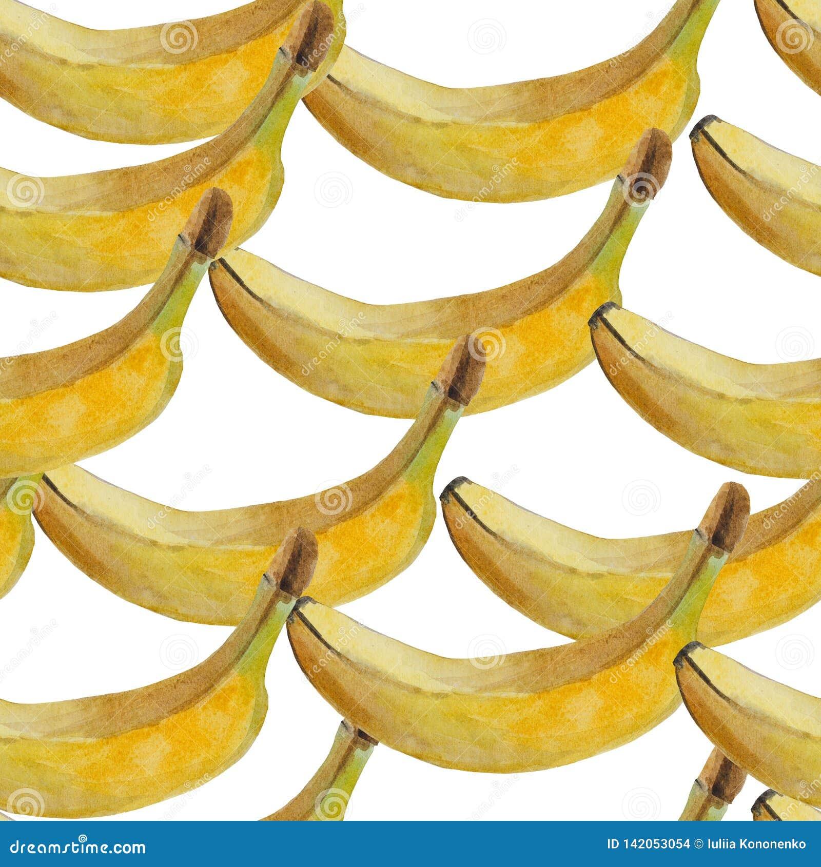 Nahtloses Aquarellmuster von reifen Bananen auf einem weißen Hintergrund