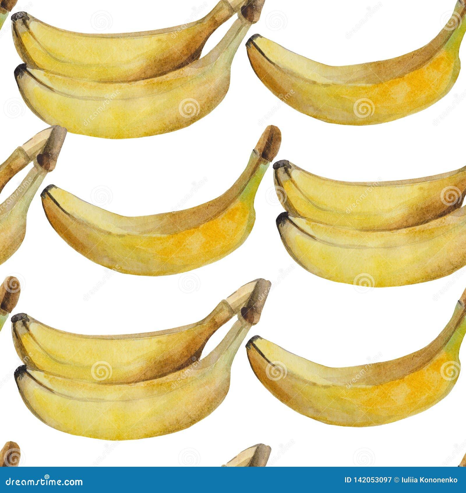 Nahtloses Aquarellmuster von reifen Bananen auf einem wei?en Hintergrund