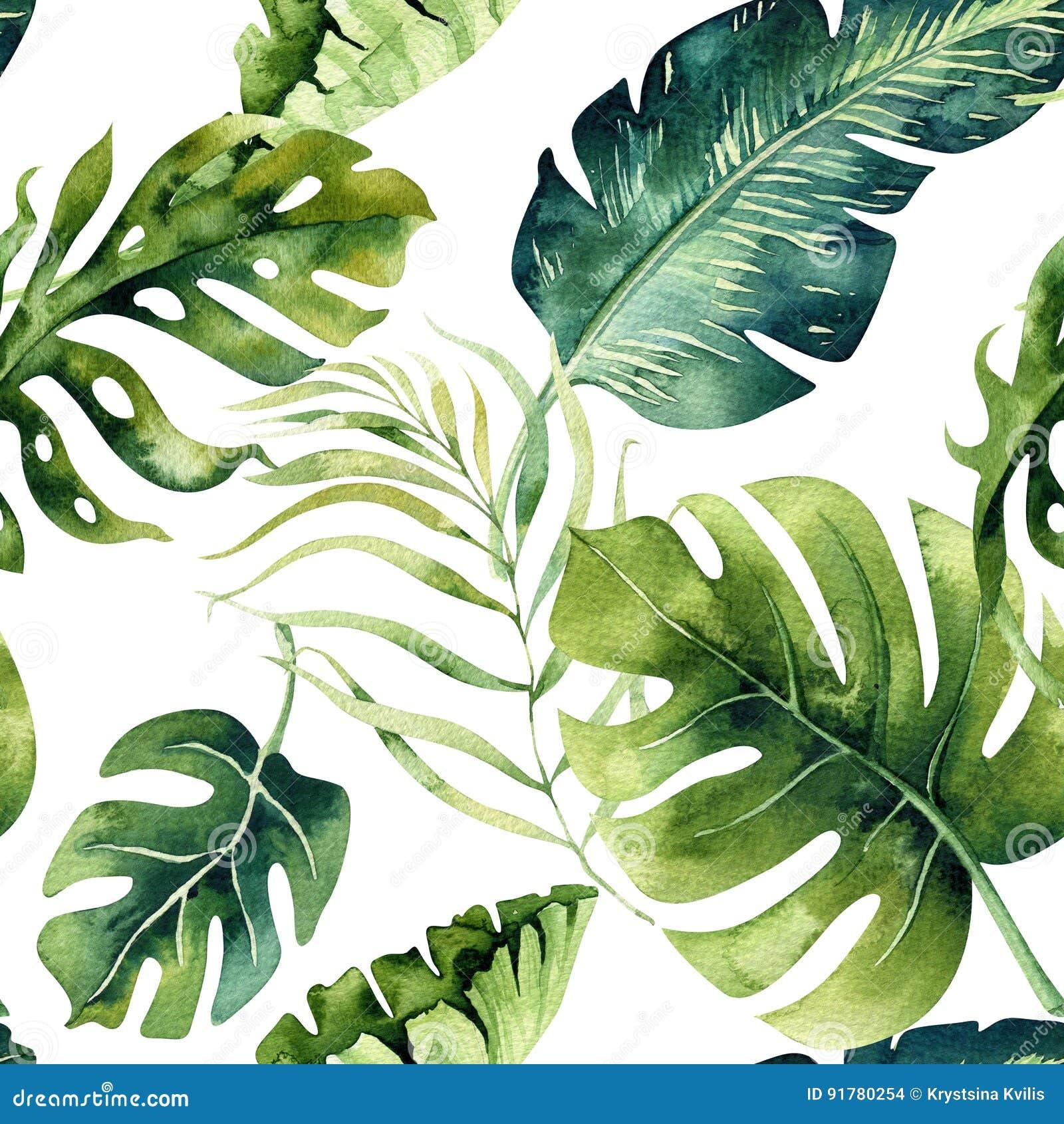 Nahtloses Aquarellmuster von tropischen Blättern, dichter Dschungel Ha