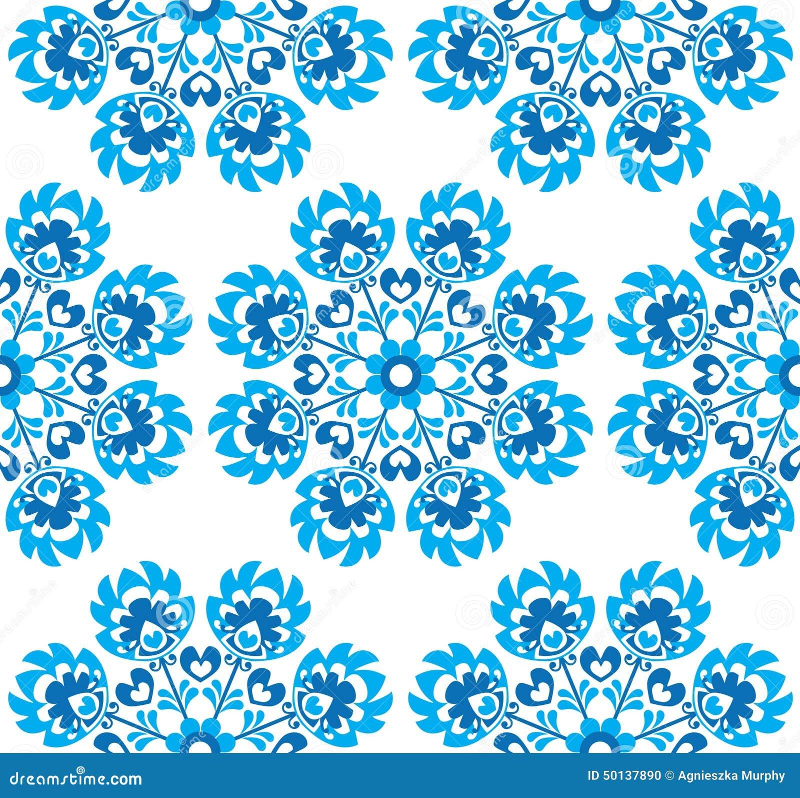 Nahtloses blaues polnisches Volkskunstmit blumenmuster - wzory lowickie, wycinanki