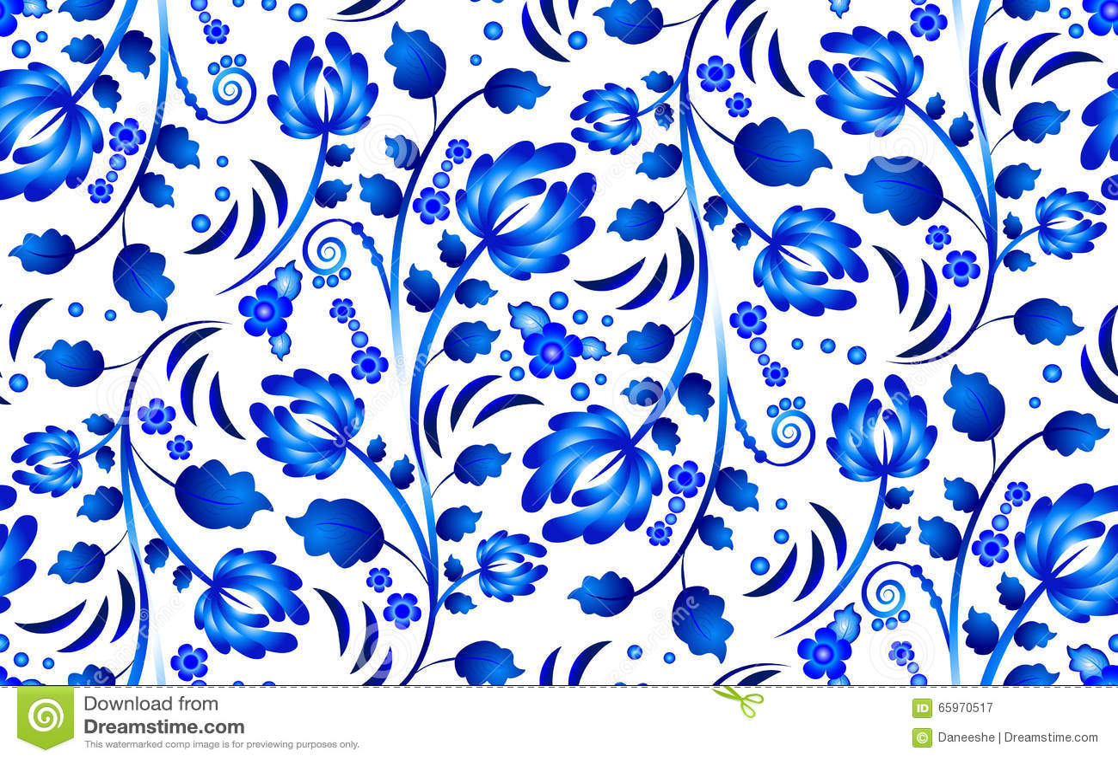 2f8efa16b369 Nahtloses Blumenmuster In Gzhel-Art Mit Blauen Blumen Vektor ...