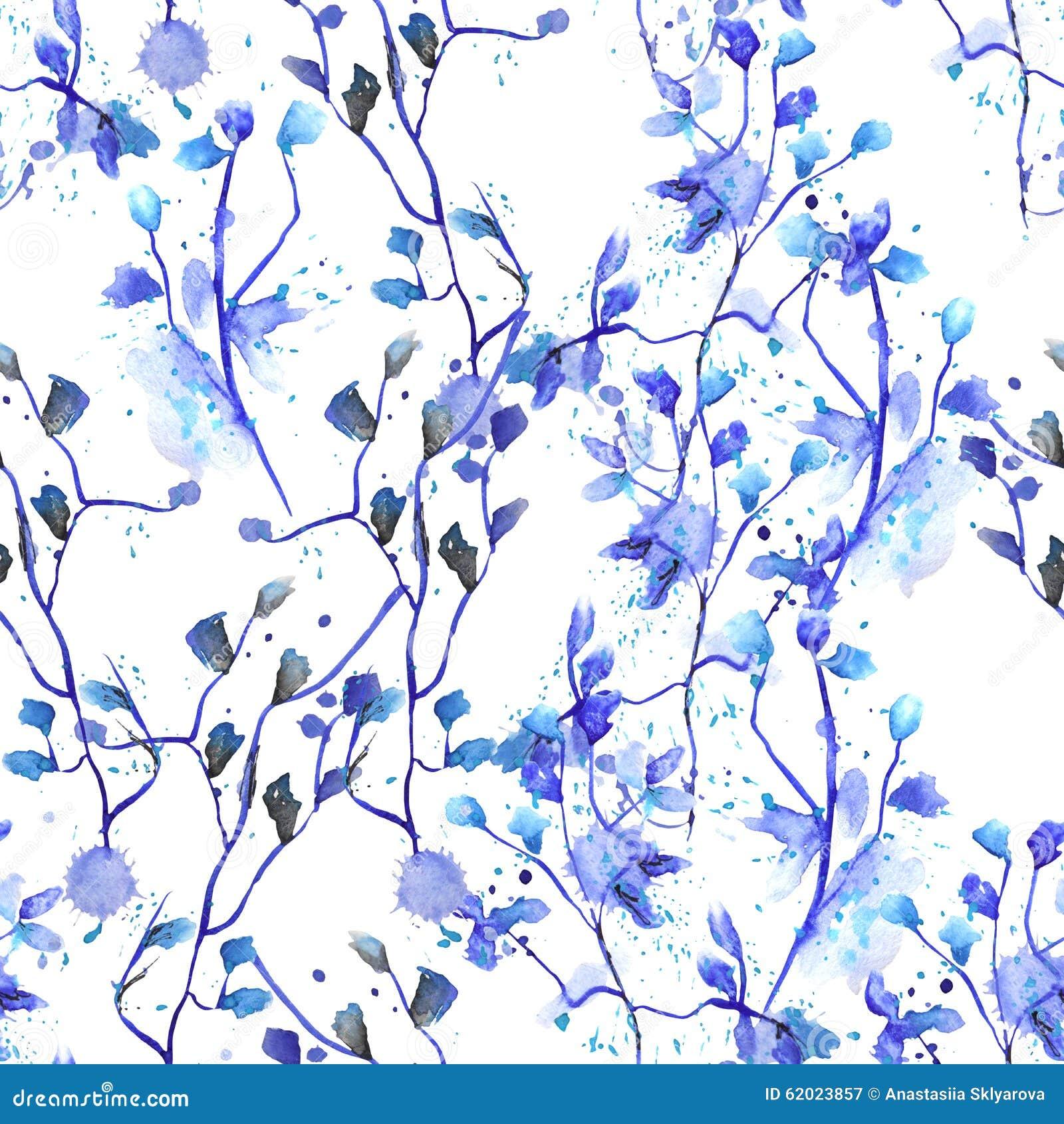 c08ca6e14469 Nahtloses Blumenmuster mit blauen Blumen auf den Niederlassungen mit Blau  lässt gemalte Handzeichnung im Aquarell mit Flecken auf einem weißen  Hintergrund